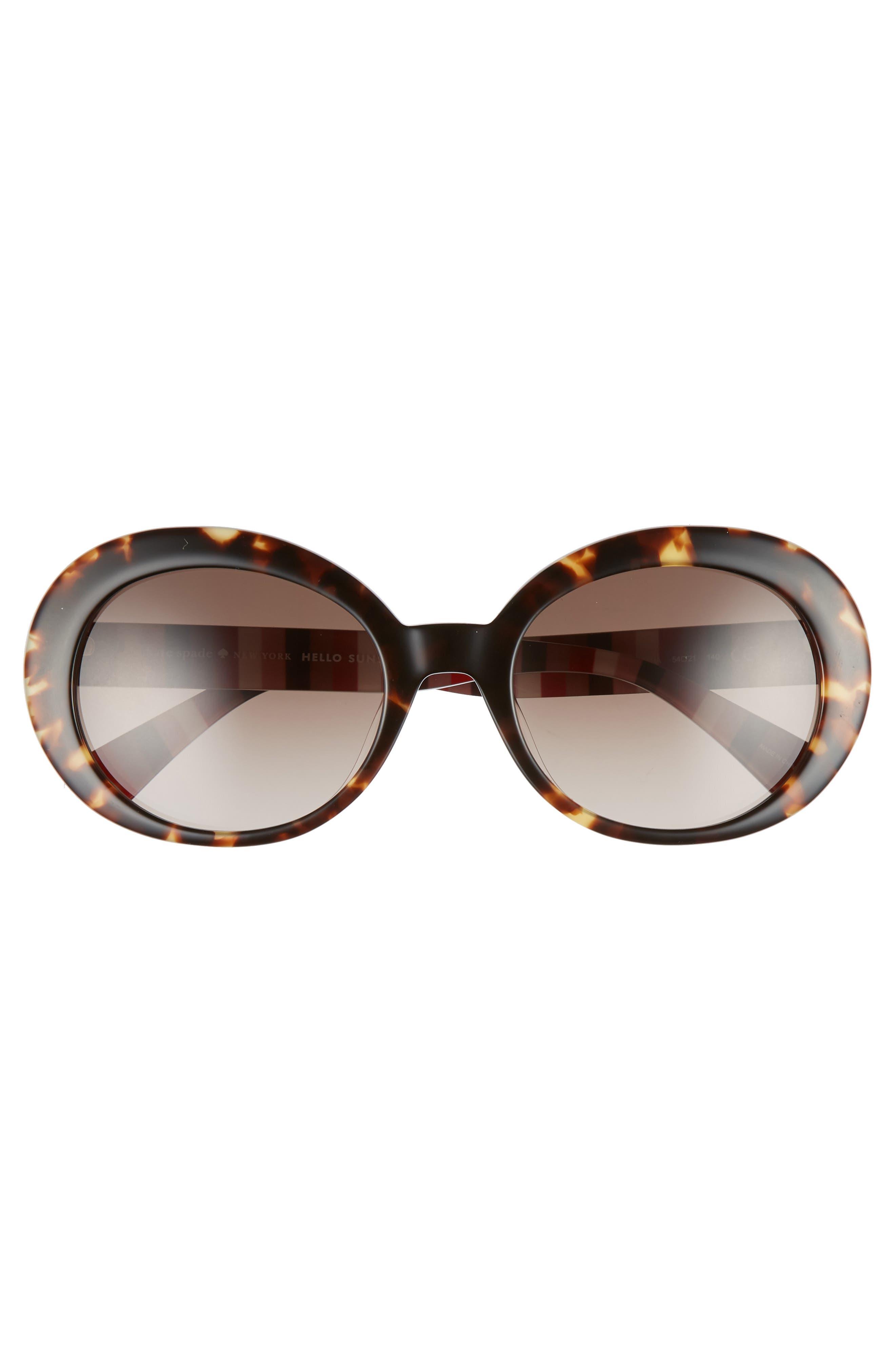 cindra 54mm gradient round sunglasses,                             Alternate thumbnail 3, color,                             DARK HAVANA