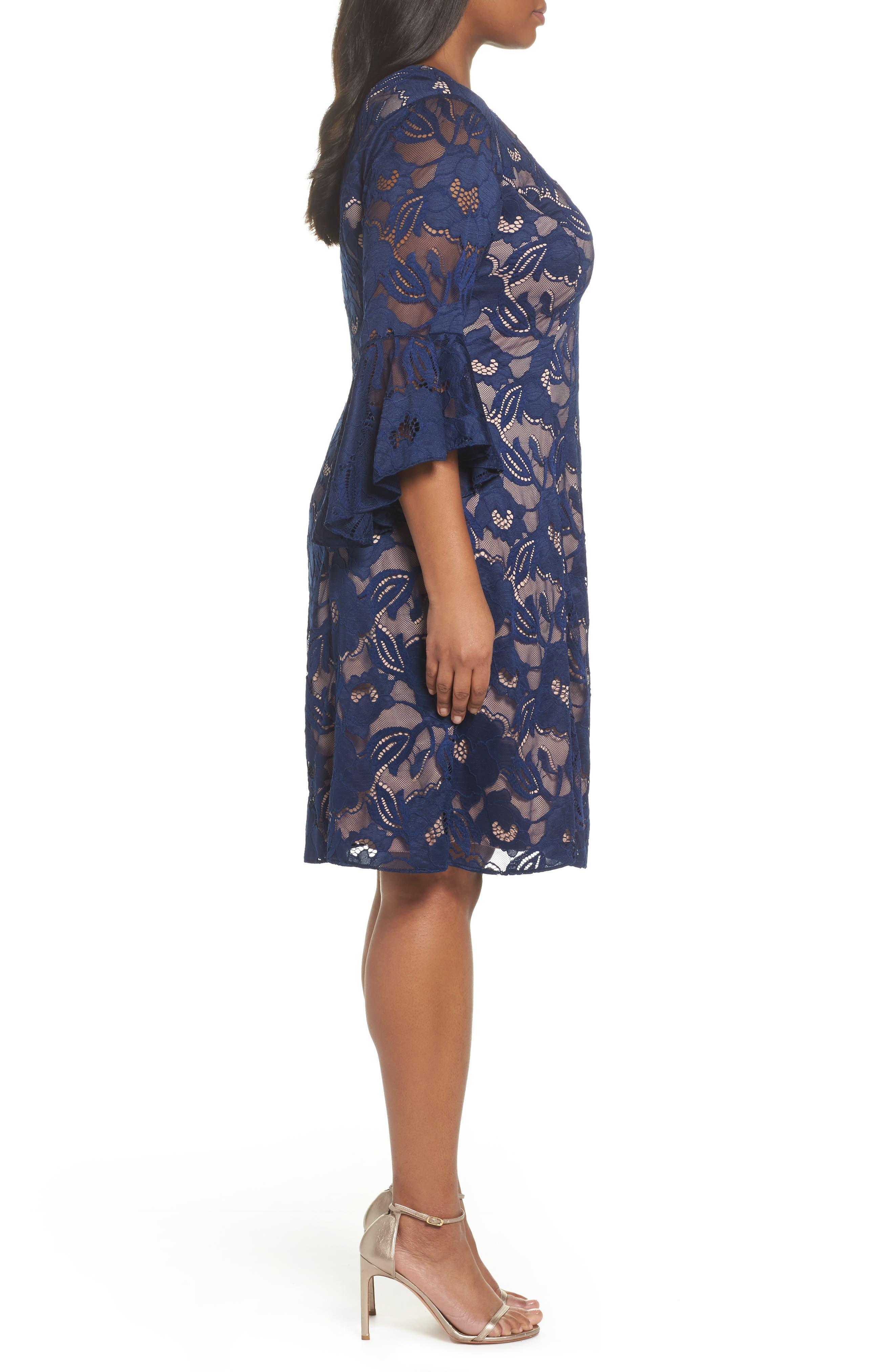 Ruffle Sleeve Lace Dress,                             Alternate thumbnail 3, color,                             412