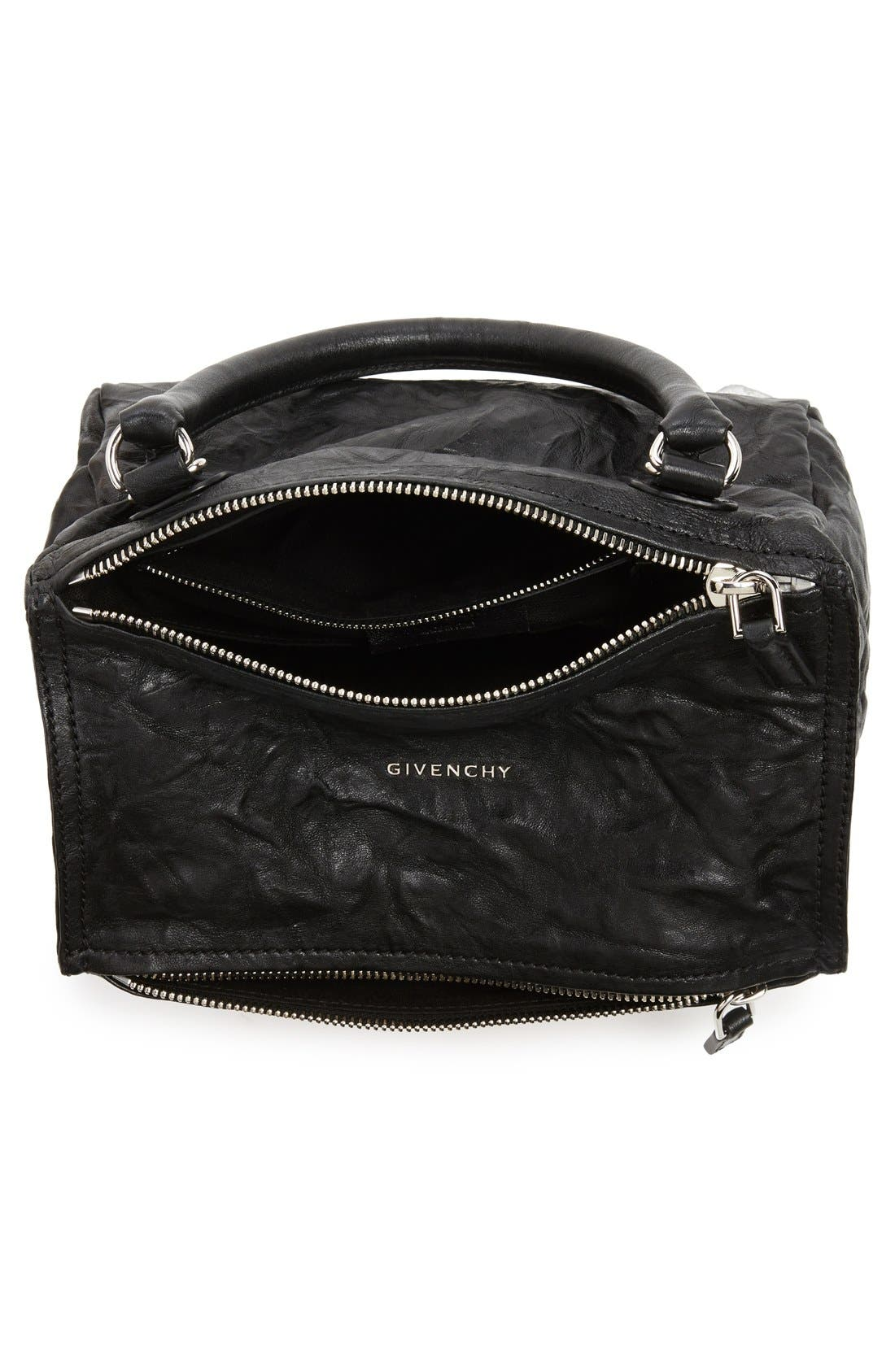 'Small Pepe Pandora' Leather Shoulder Bag,                             Alternate thumbnail 3, color,                             BLACK