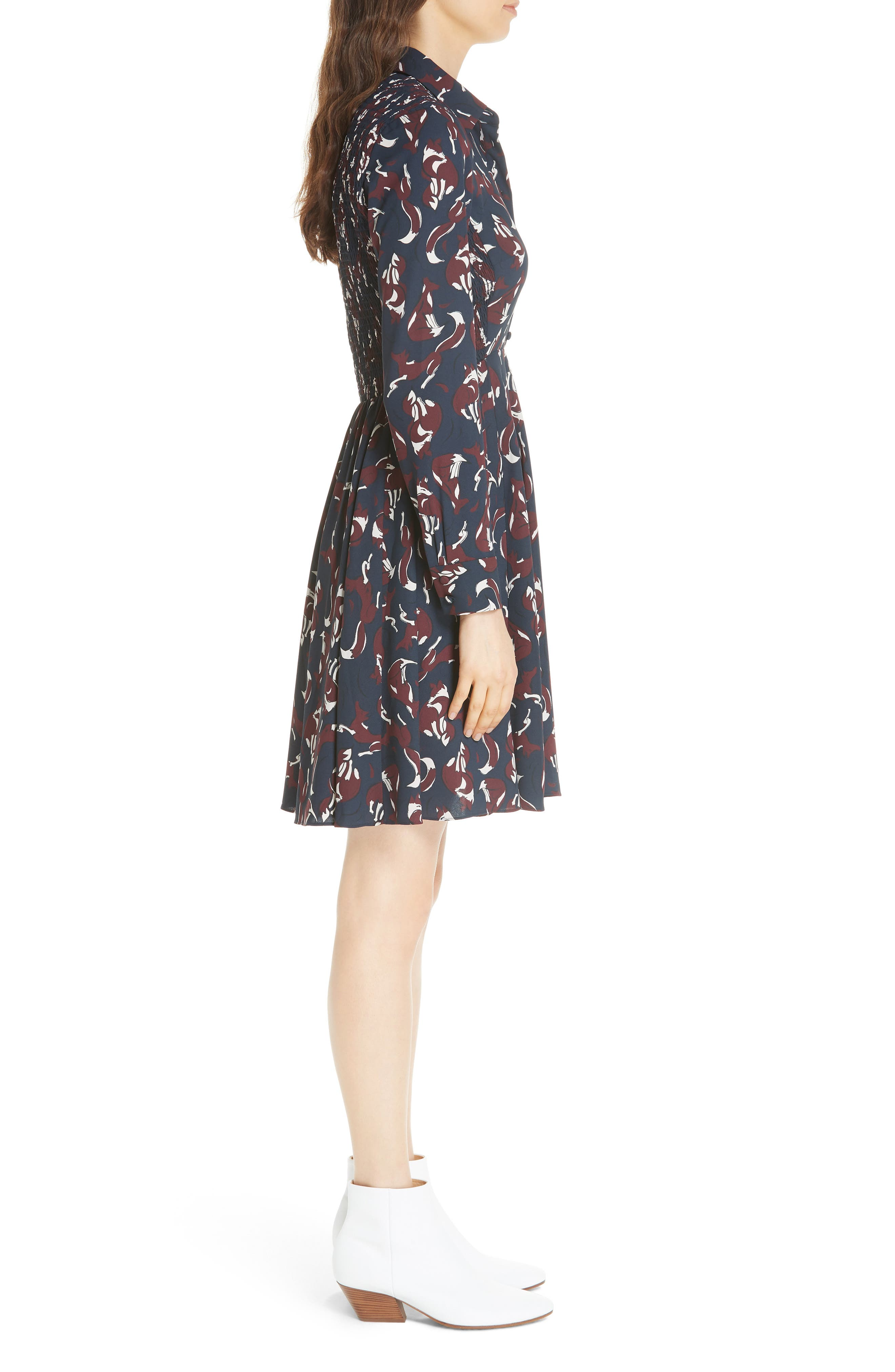 KATE SPADE NEW YORK,                             foxes smocked shirtdress,                             Alternate thumbnail 3, color,                             426