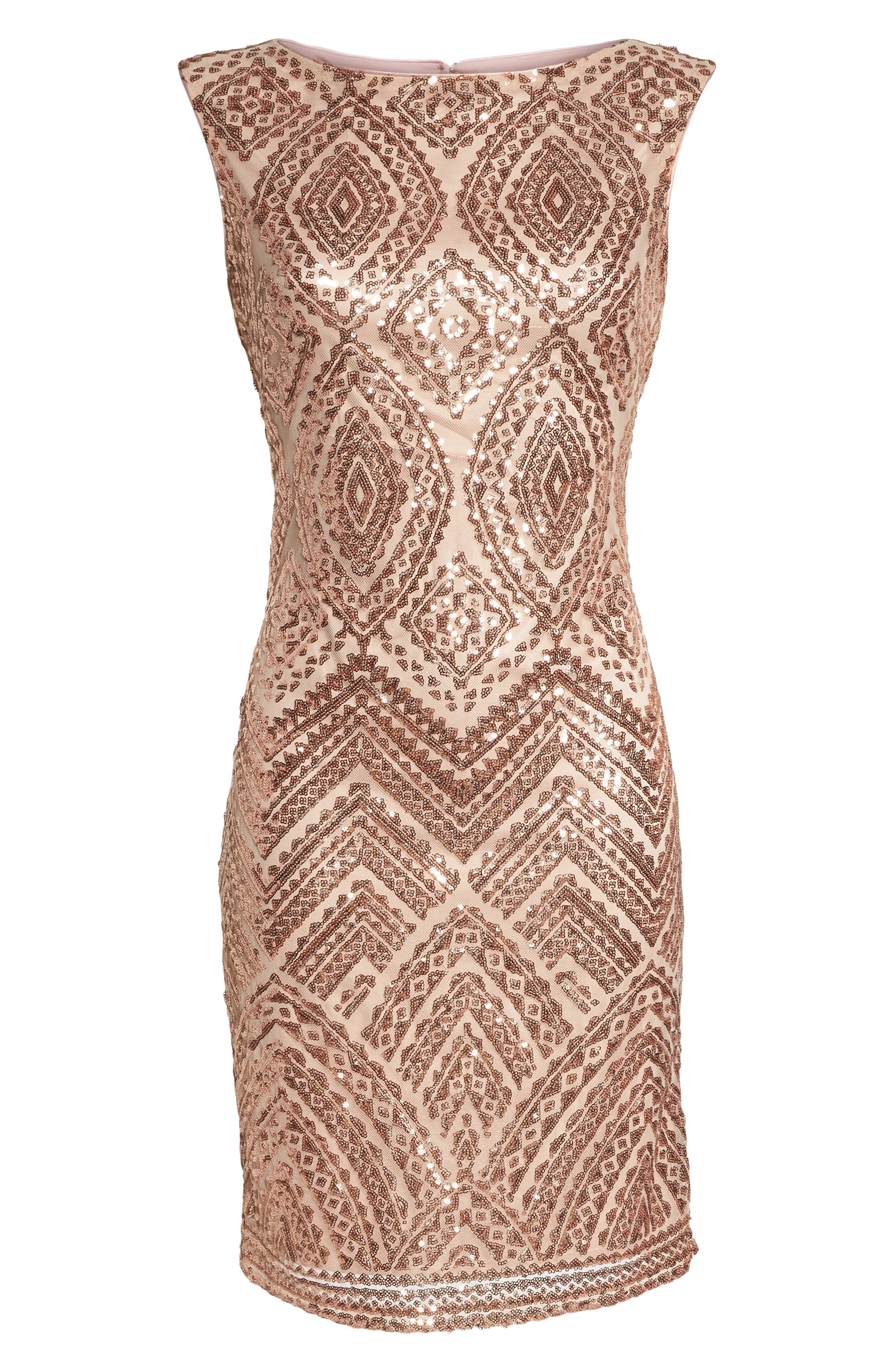 VINCE CAMUTO,                             Sequin Embellished Cocktail Dress,                             Alternate thumbnail 7, color,                             254