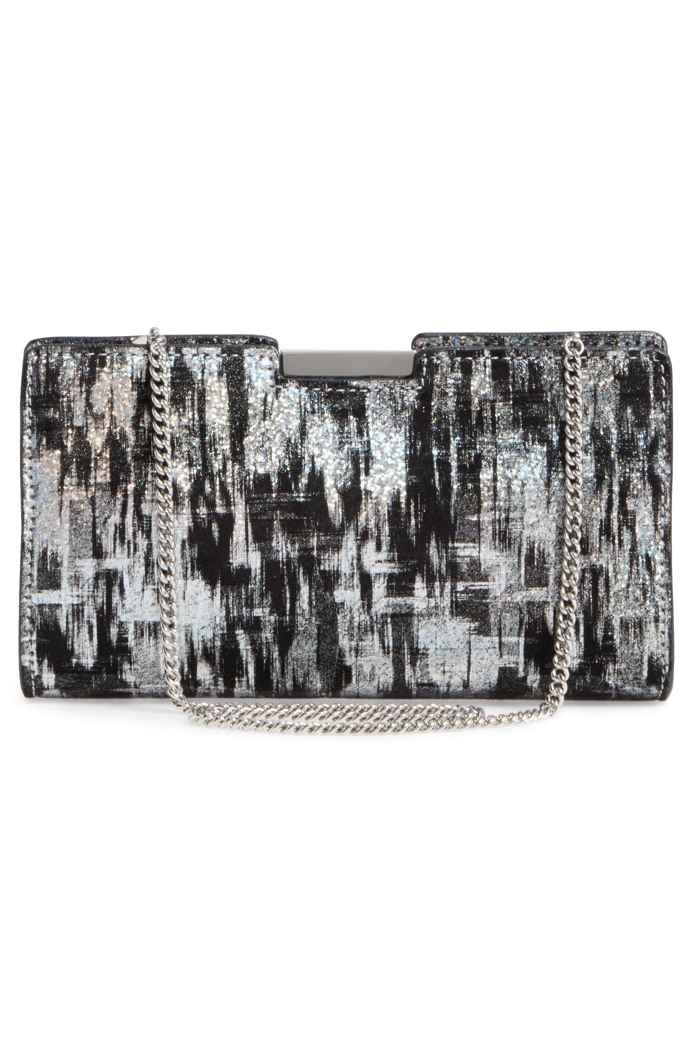 Brushstroke Suede Frame Clutch,                             Alternate thumbnail 3, color,                             041