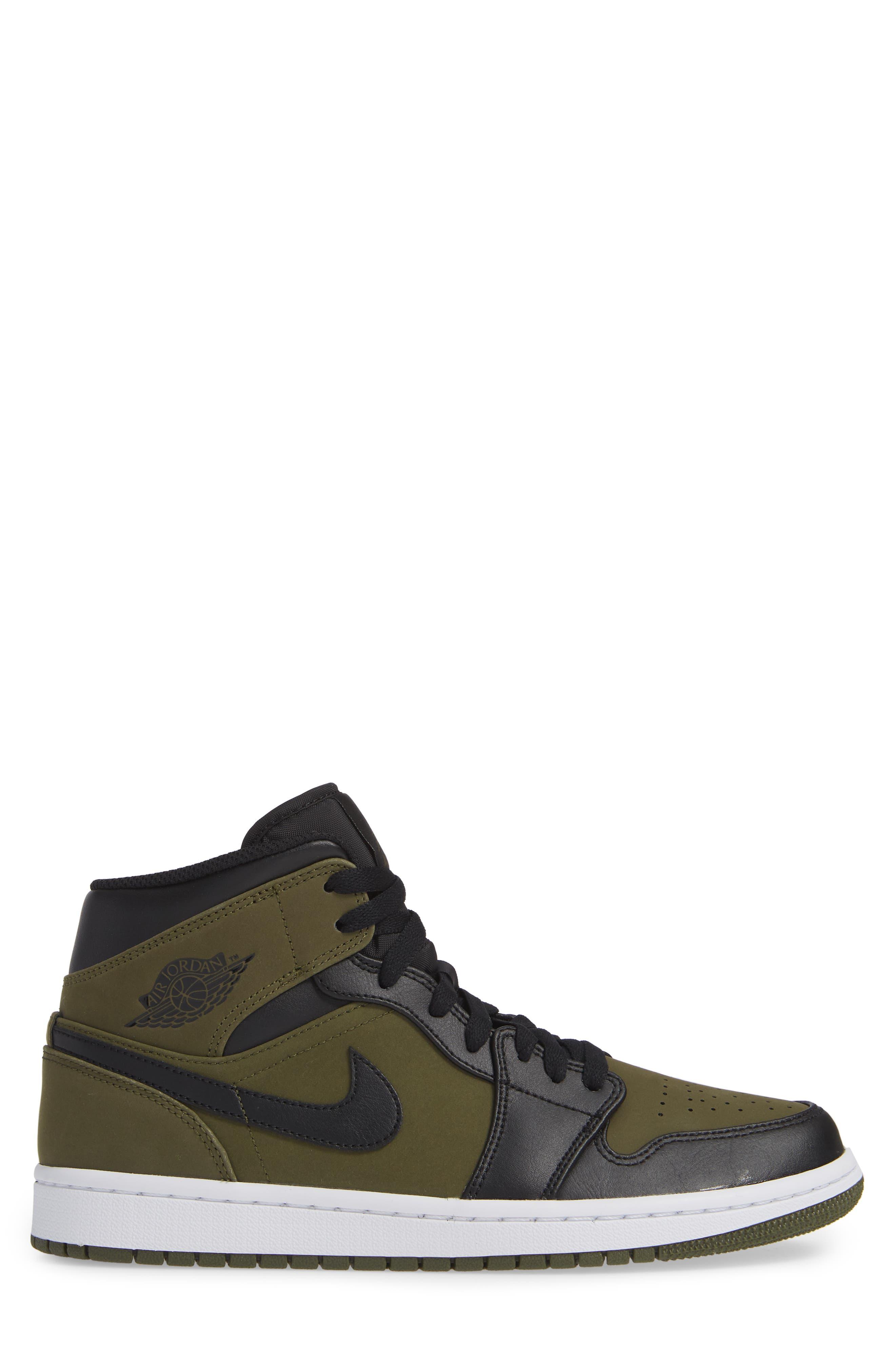 'Air Jordan 1 Mid' Sneaker,                             Alternate thumbnail 3, color,                             OLIVE CANVAS/ BLACK/ WHITE