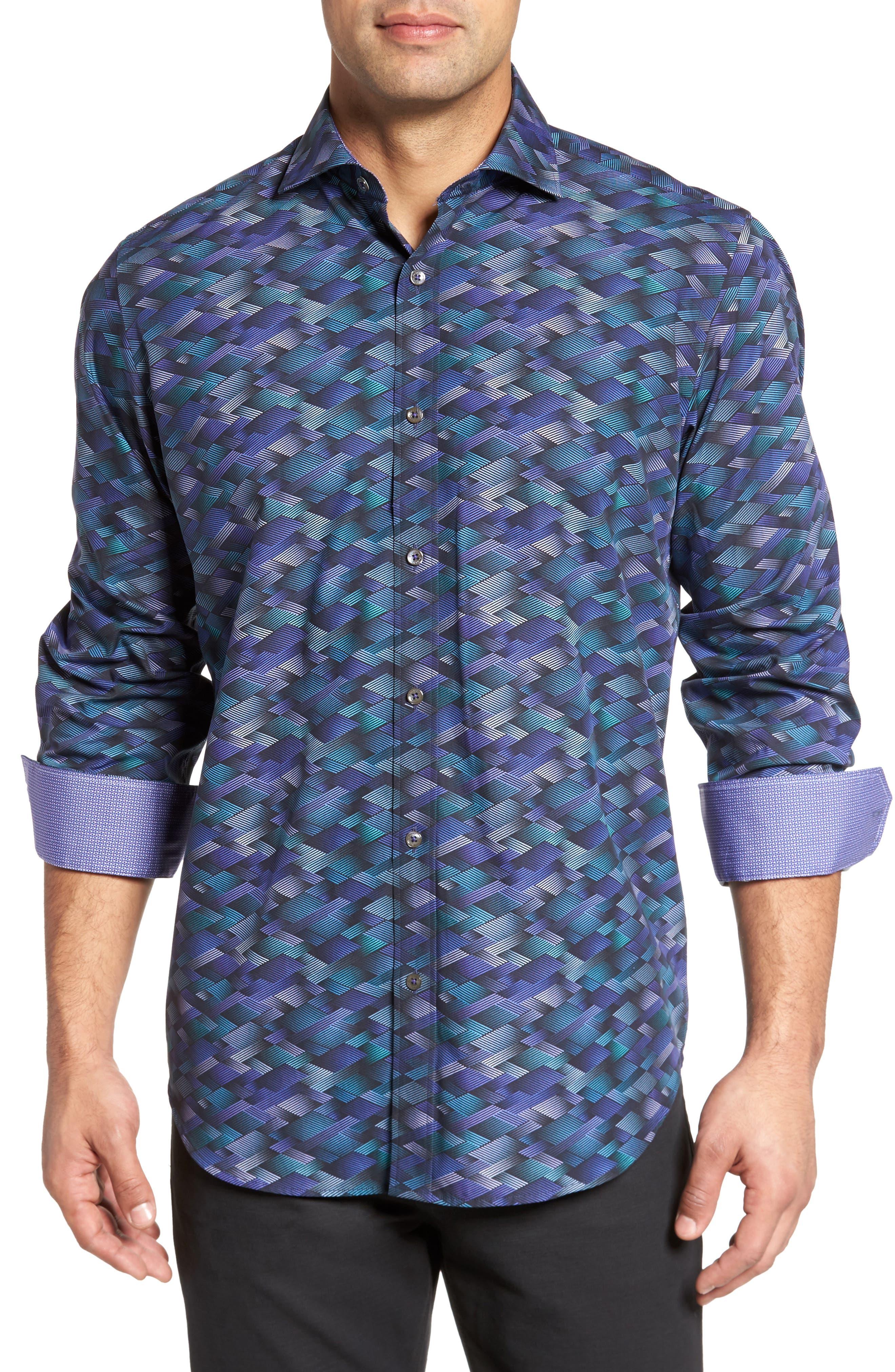 Classic Fit Geo Print Sport Shirt,                         Main,                         color, 513