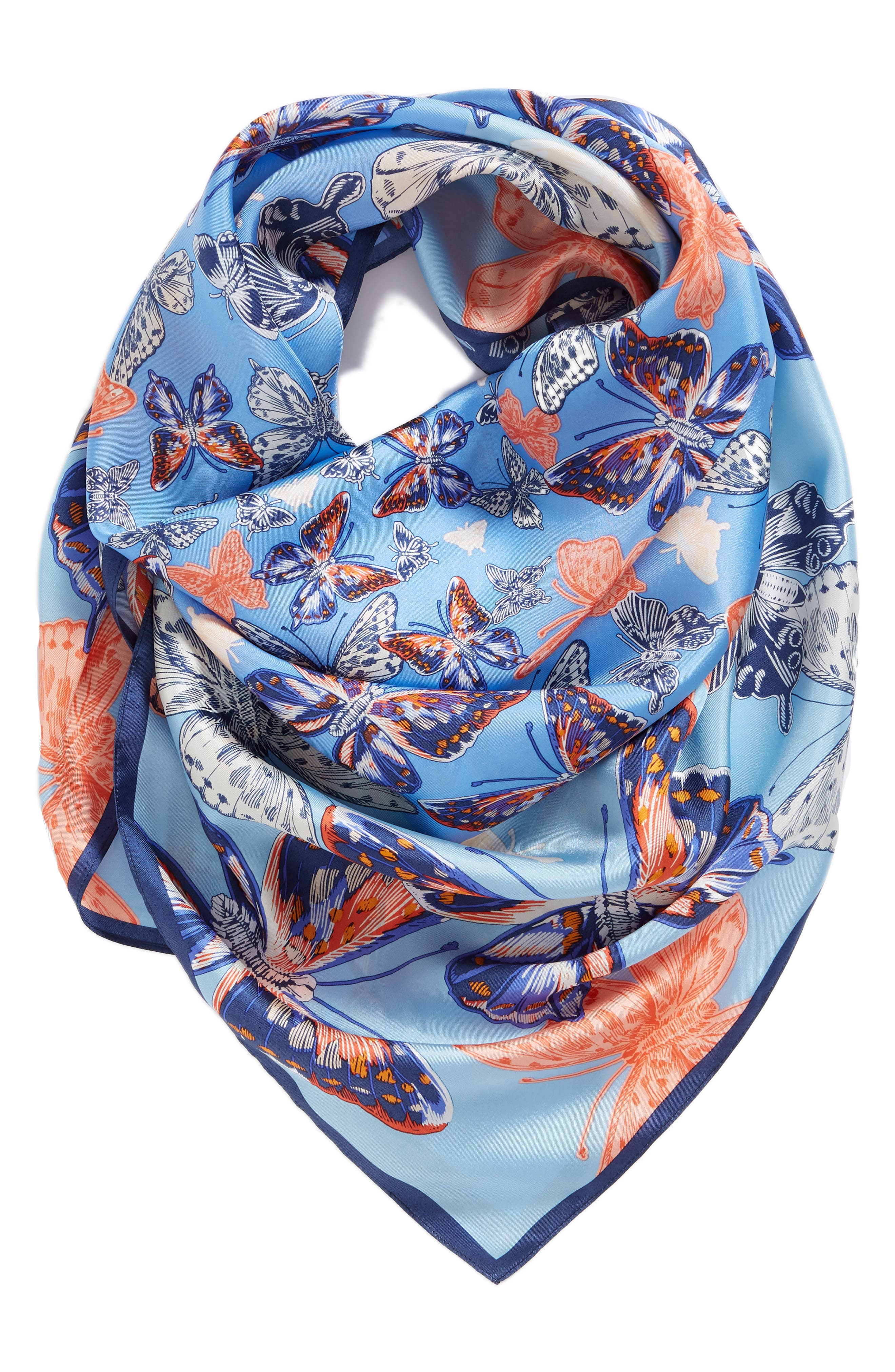 Butterfly Silk Scarf,                             Alternate thumbnail 2, color,                             425