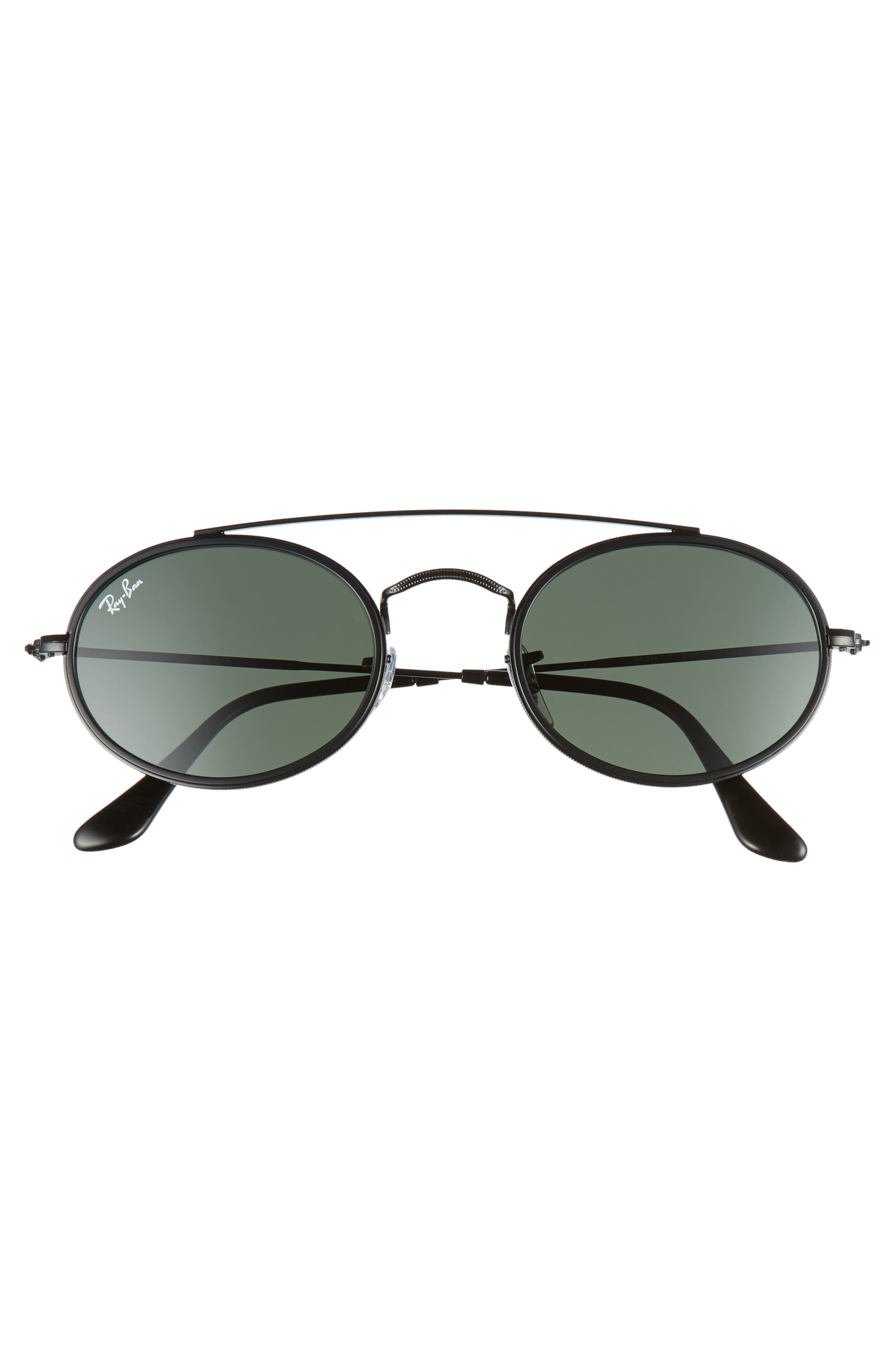 RAY-BAN,                             Elite 52mm Oval Sunglasses,                             Alternate thumbnail 3, color,                             GOLD/ GREEN SOLID