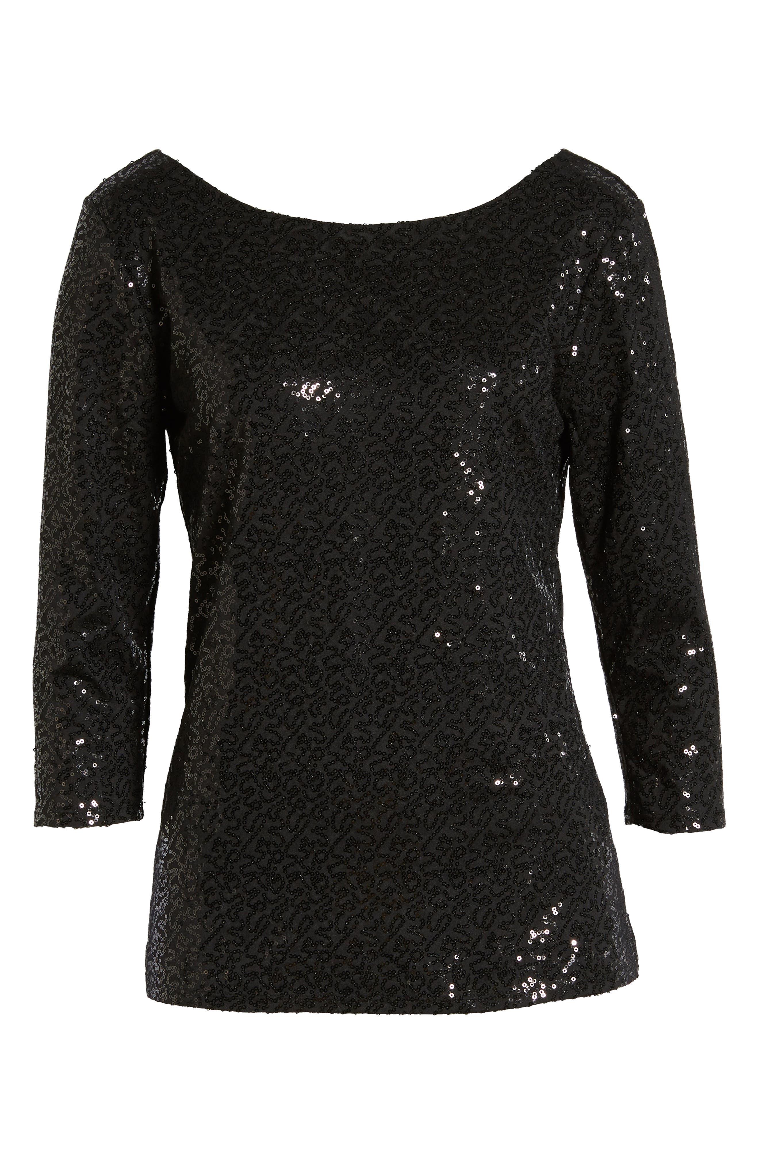 x Glam Squad Megan Sequin Embellished Scoop Back Top,                             Alternate thumbnail 7, color,                             BLACK