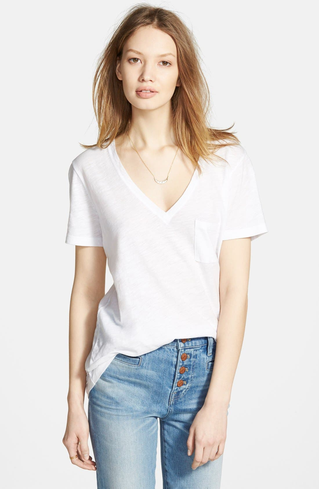 Whisper Cotton V-Neck Pocket Tee,                             Main thumbnail 1, color,
