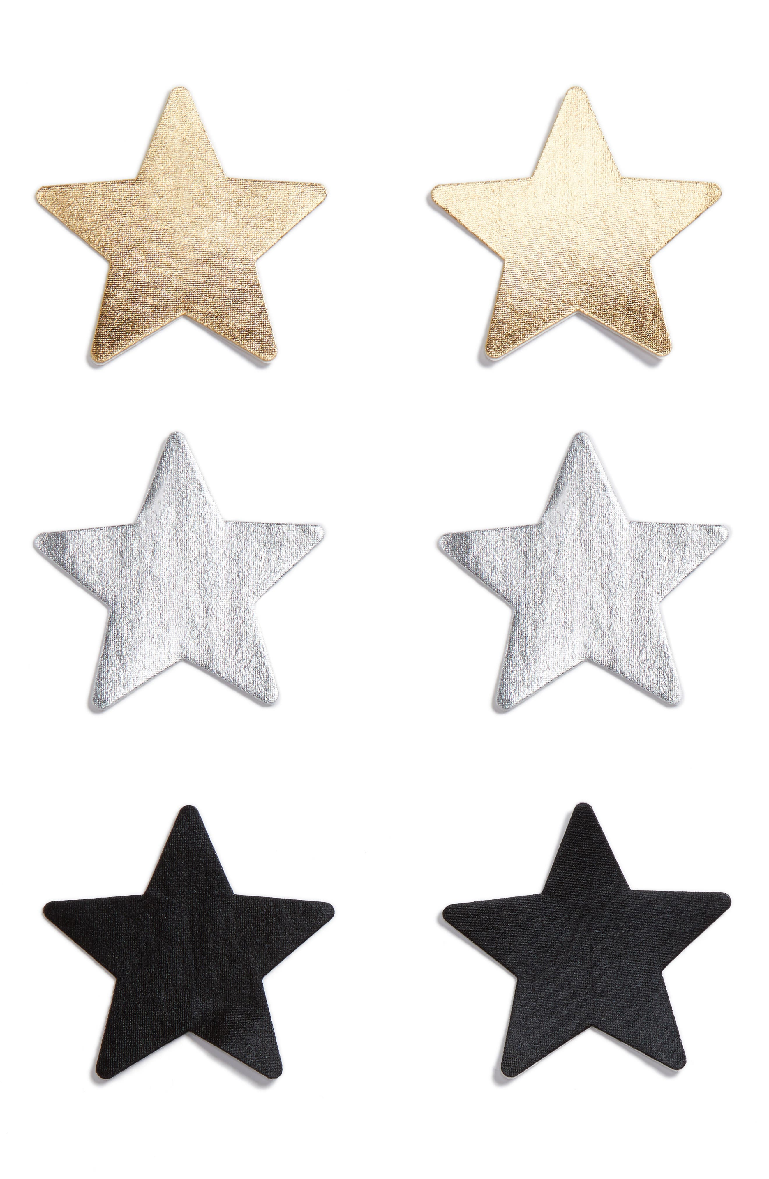 3-Pack Star Nipple Covers,                         Main,                         color, 001