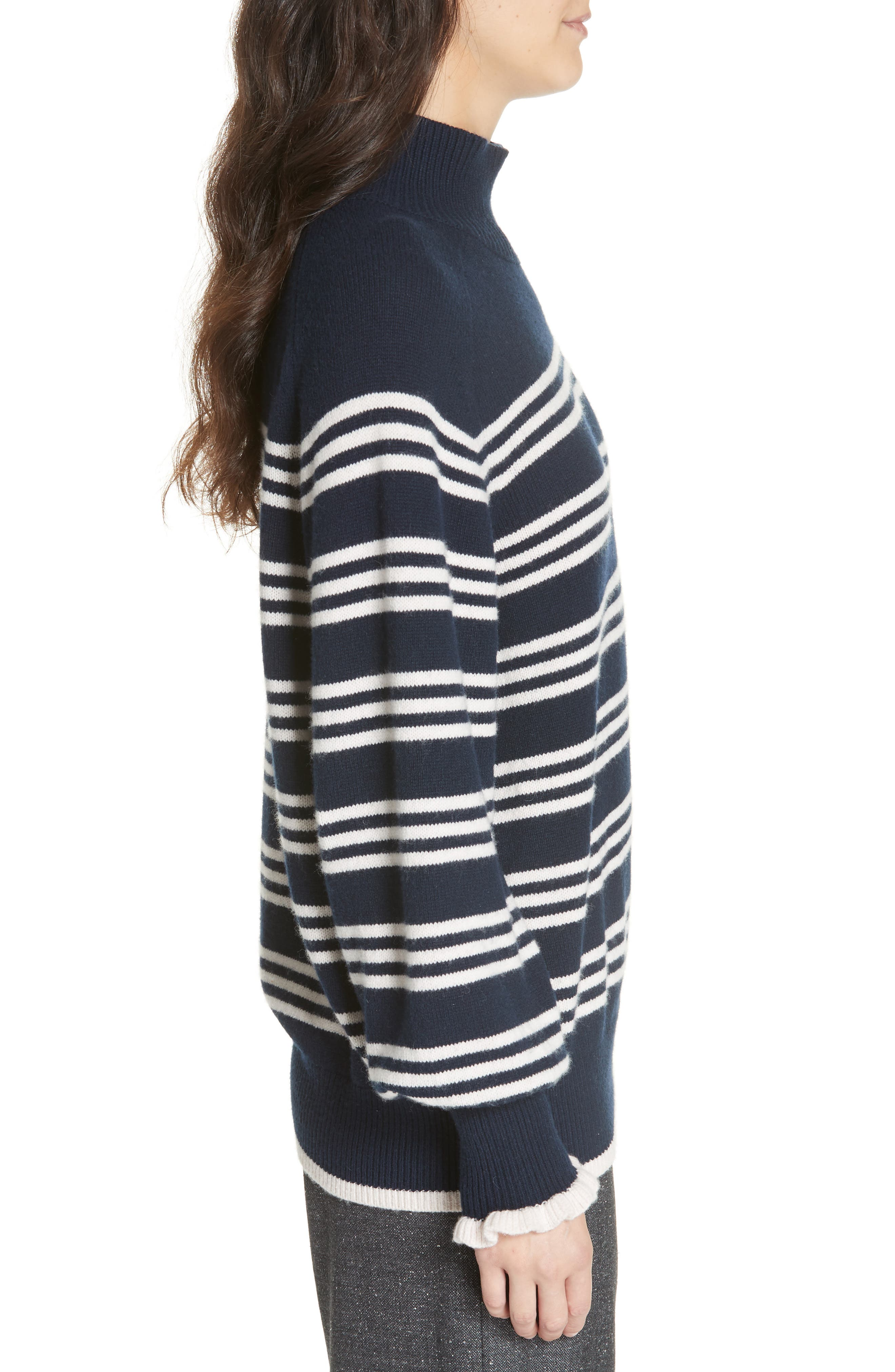 Striped Wool Cotton Blend Blouson Sleeve Sweater,                             Alternate thumbnail 3, color,                             NAVY COMBO