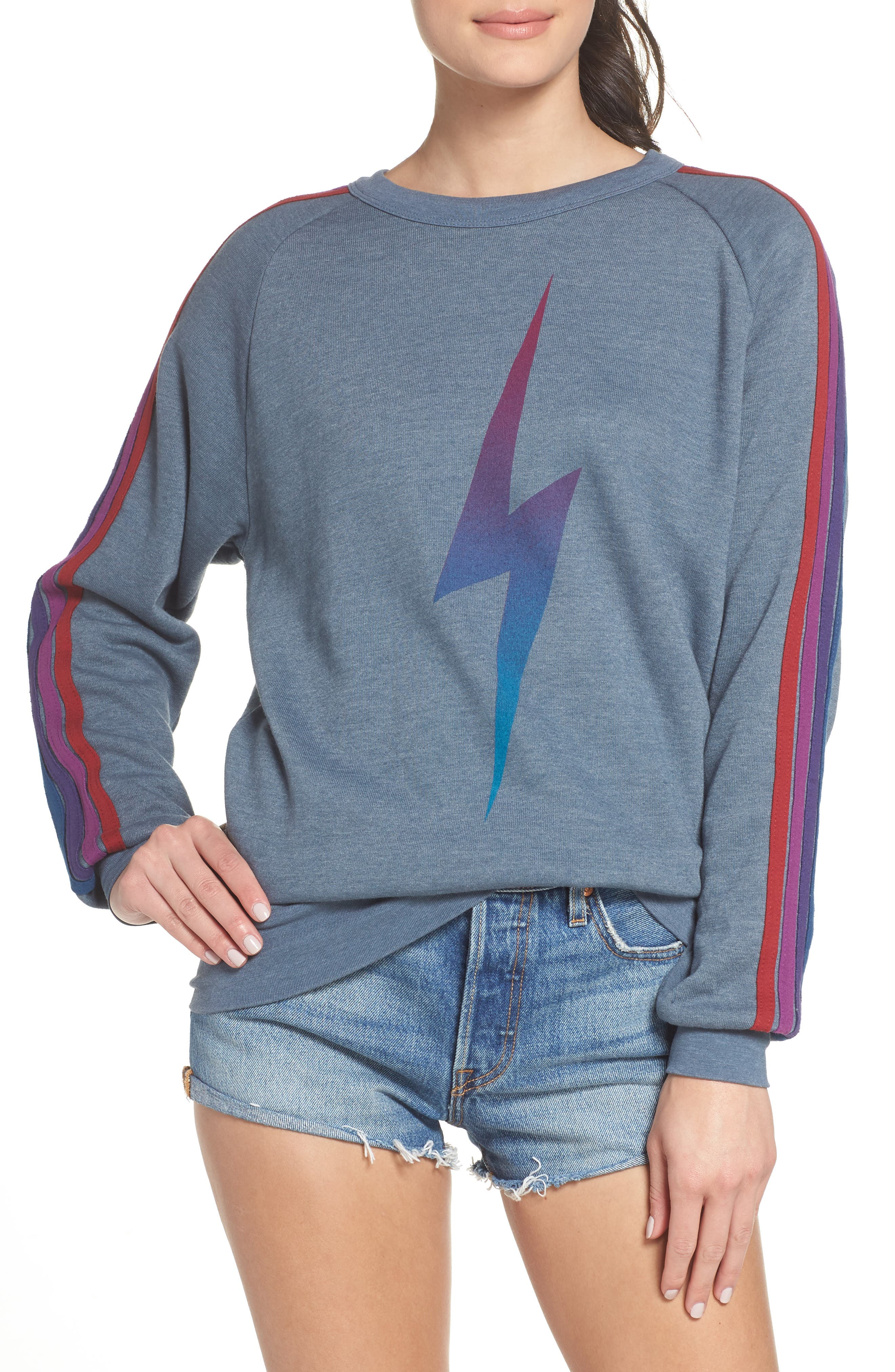 Bolt Fade Sweatshirt,                             Main thumbnail 1, color,                             SLATE/ PURPLE