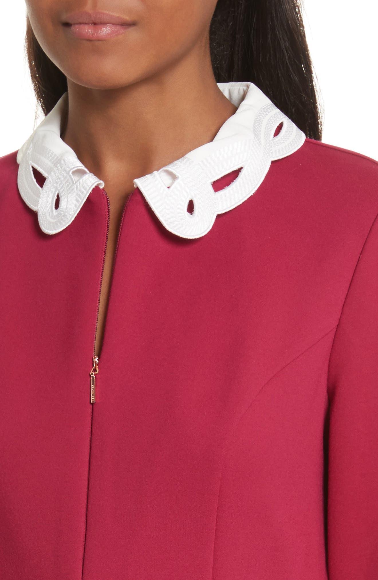 Shealah Embroidered Trim A-Line Dress,                             Alternate thumbnail 4, color,                             651