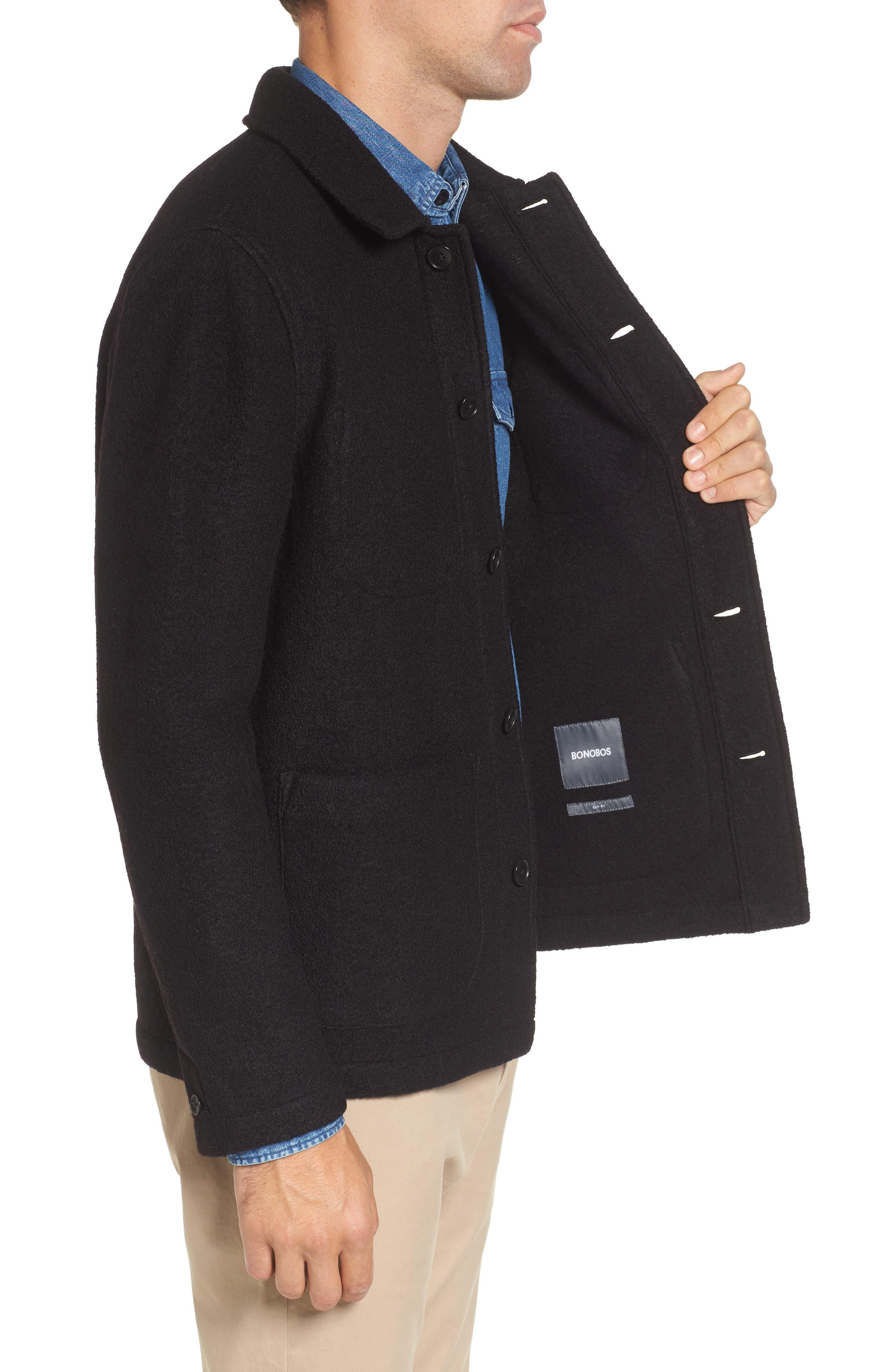 The Wool Bouclé Bomber Jacket,                             Alternate thumbnail 3, color,                             001