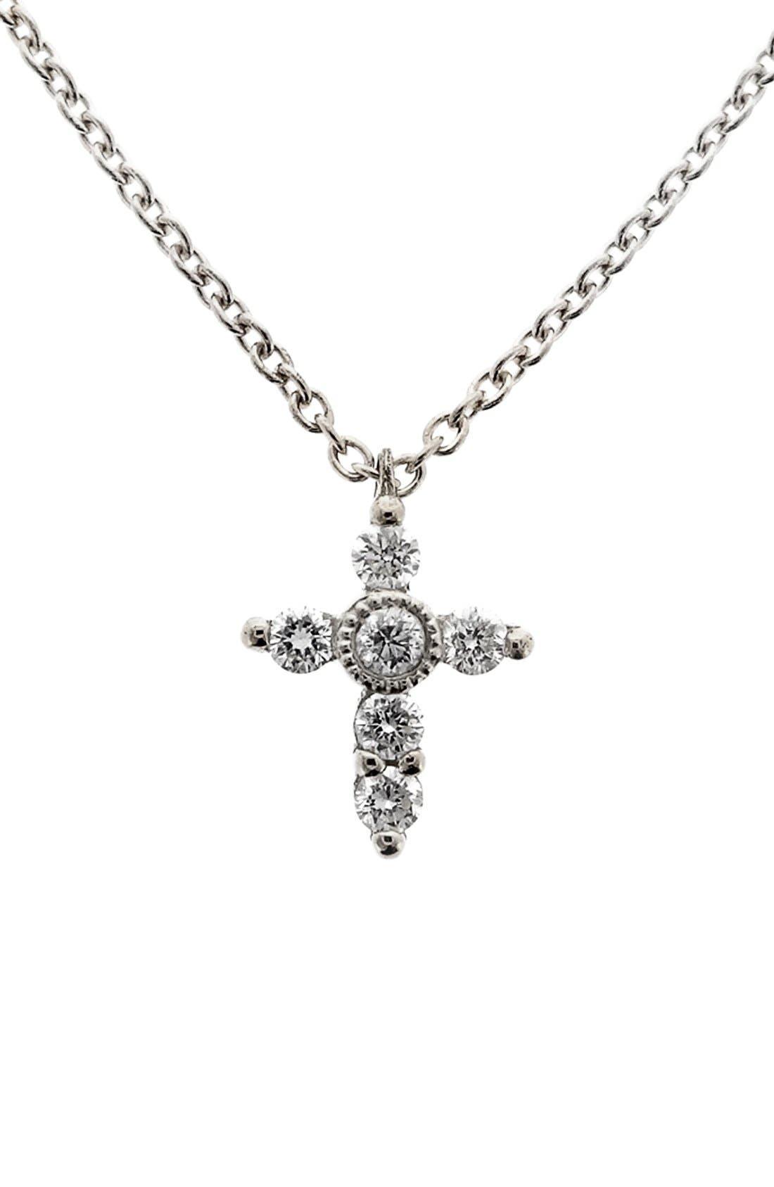 BONY LEVY,                             Diamond Mini Cross Necklace,                             Main thumbnail 1, color,                             WHITE GOLD
