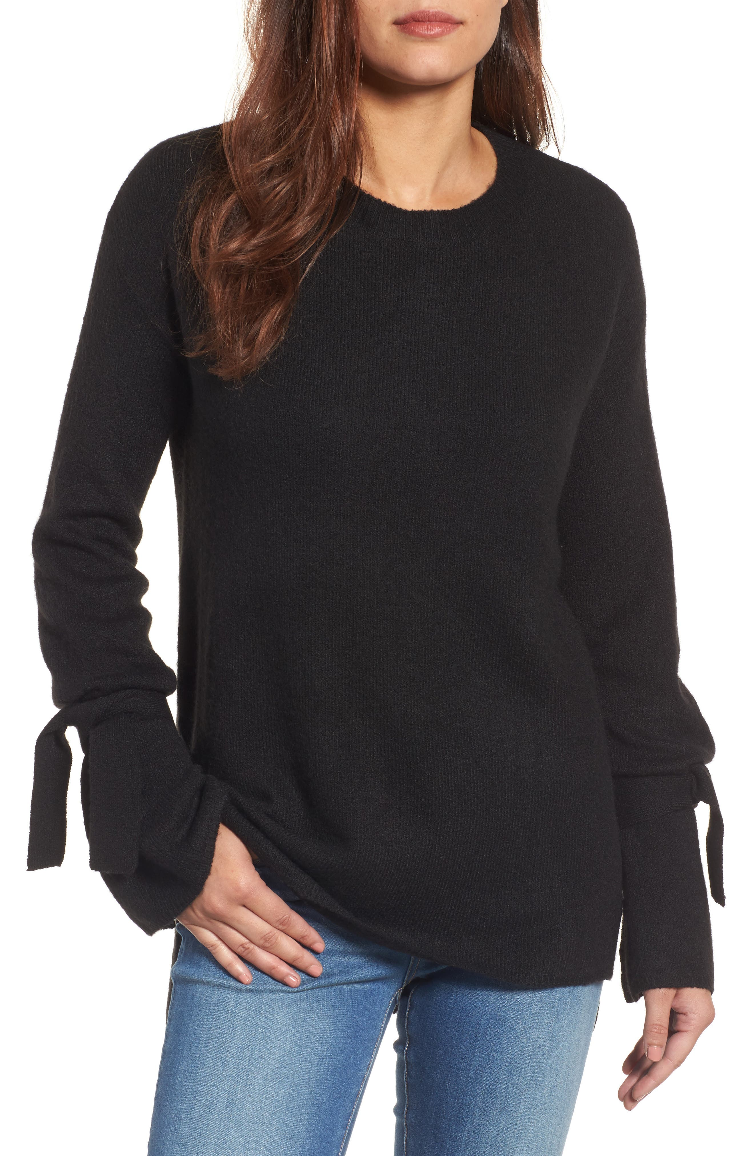Tie Bell Sleeve Sweater, Main, color, 001