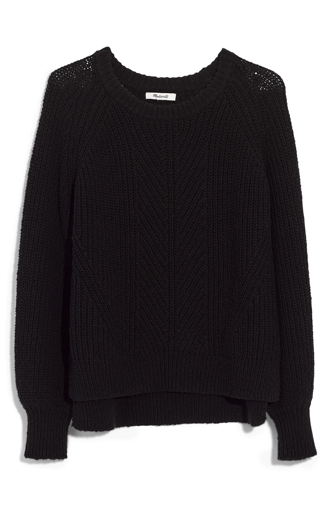 Balloon Sleeve Pullover Sweater,                             Main thumbnail 1, color,                             TRUE BLACK