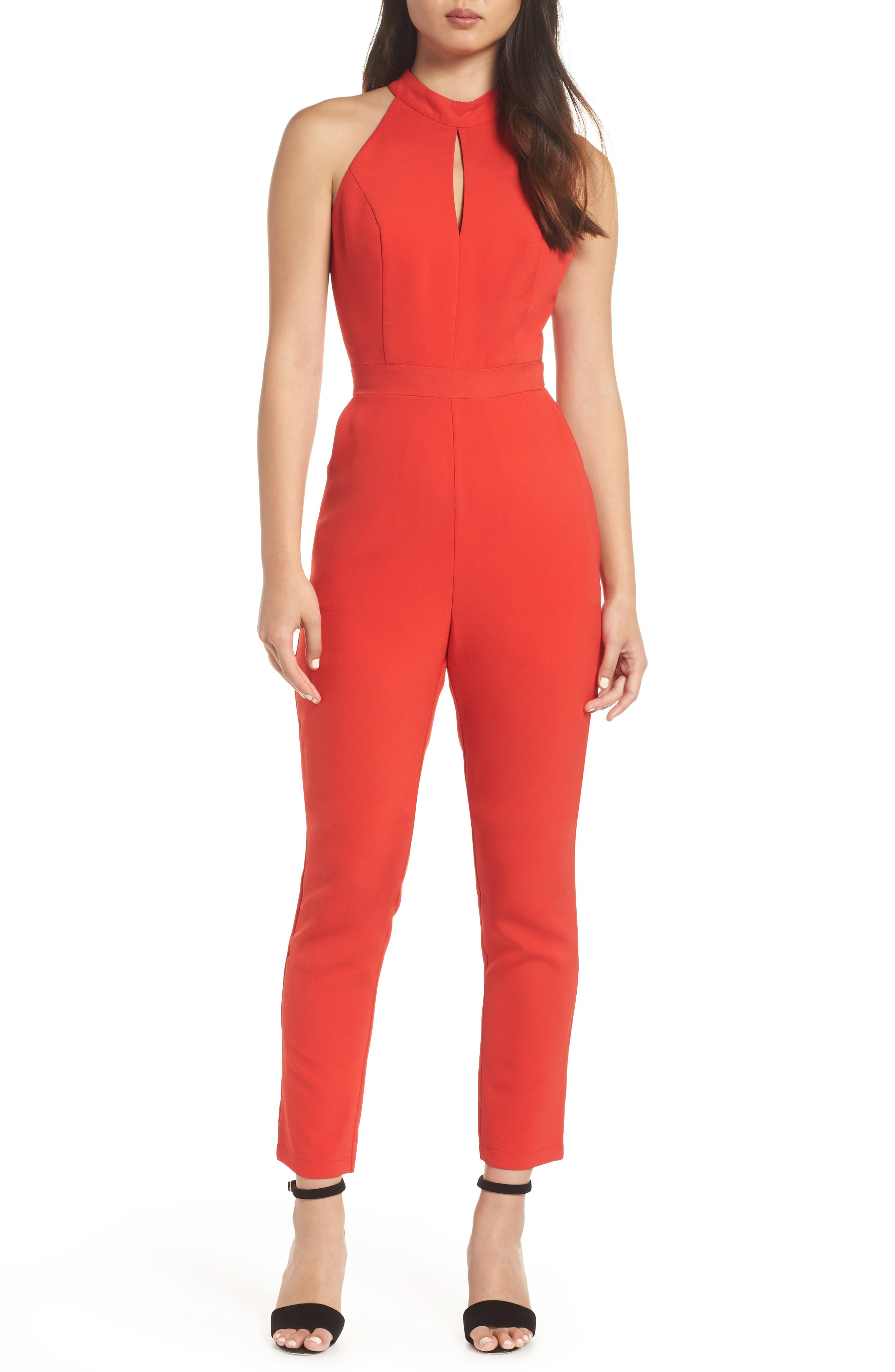 ADELYN RAE Shaylie Scalloped Back Jumpsuit in Red