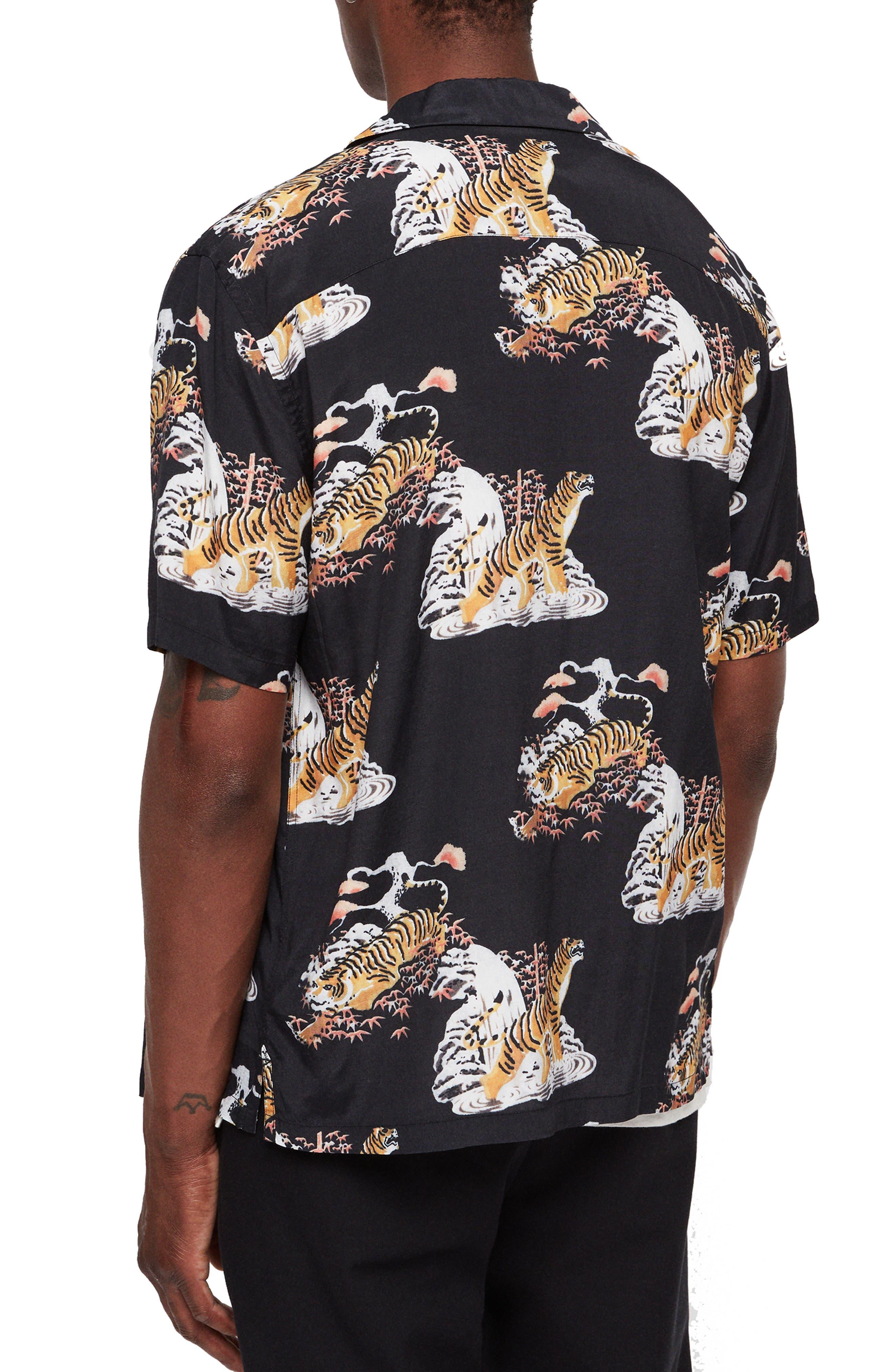 Kirshma Slim Fit Print Shirt,                             Alternate thumbnail 3, color,                             BLACK