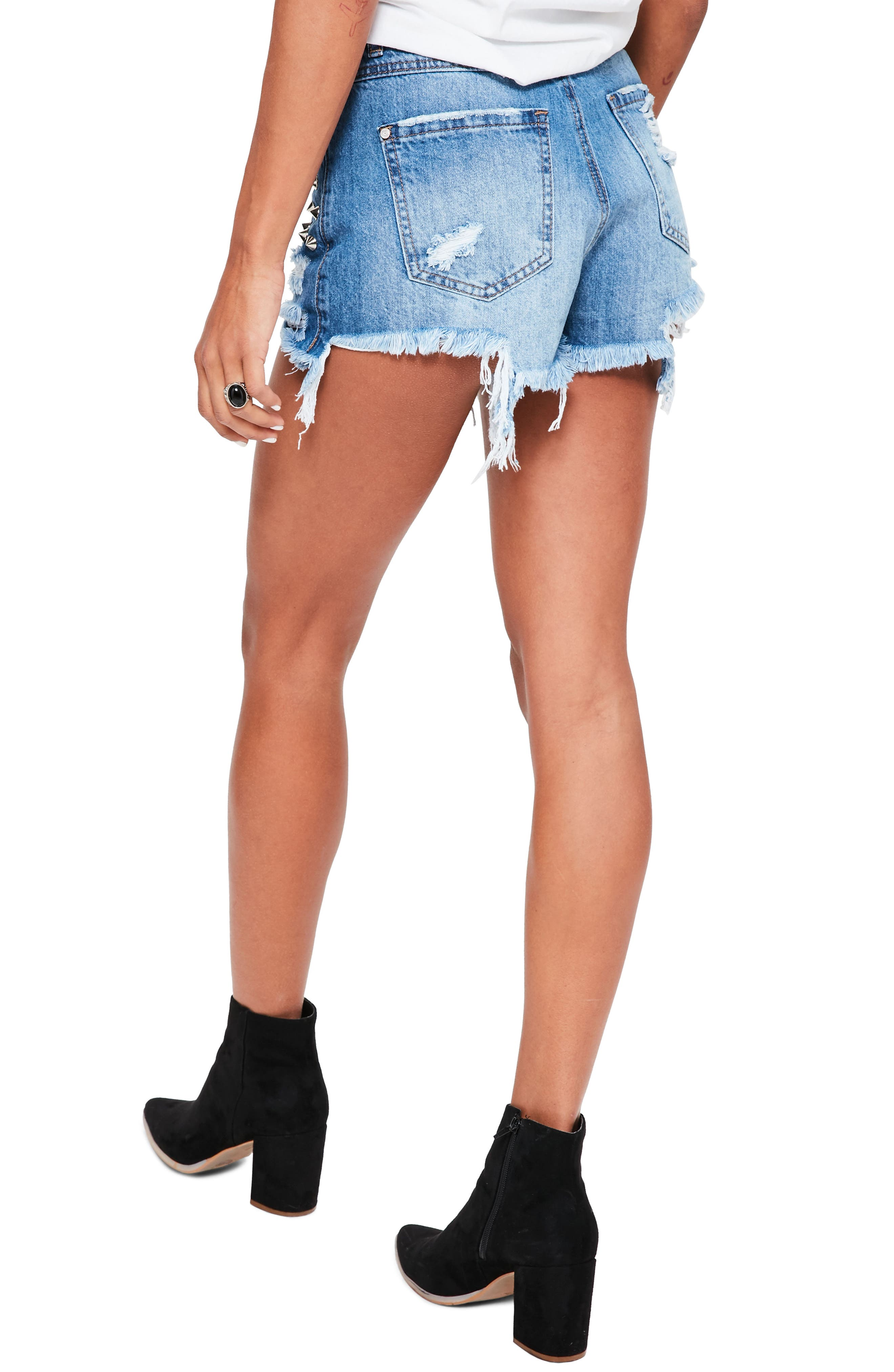 Studded Distressed Denim Shorts,                             Alternate thumbnail 2, color,                             400