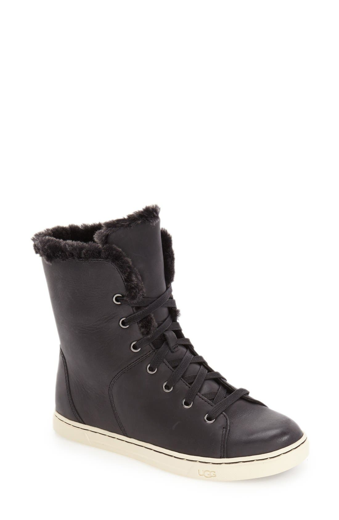 'Croft Luxe' Genuine Shearling High Top Sneaker,                             Main thumbnail 1, color,                             001