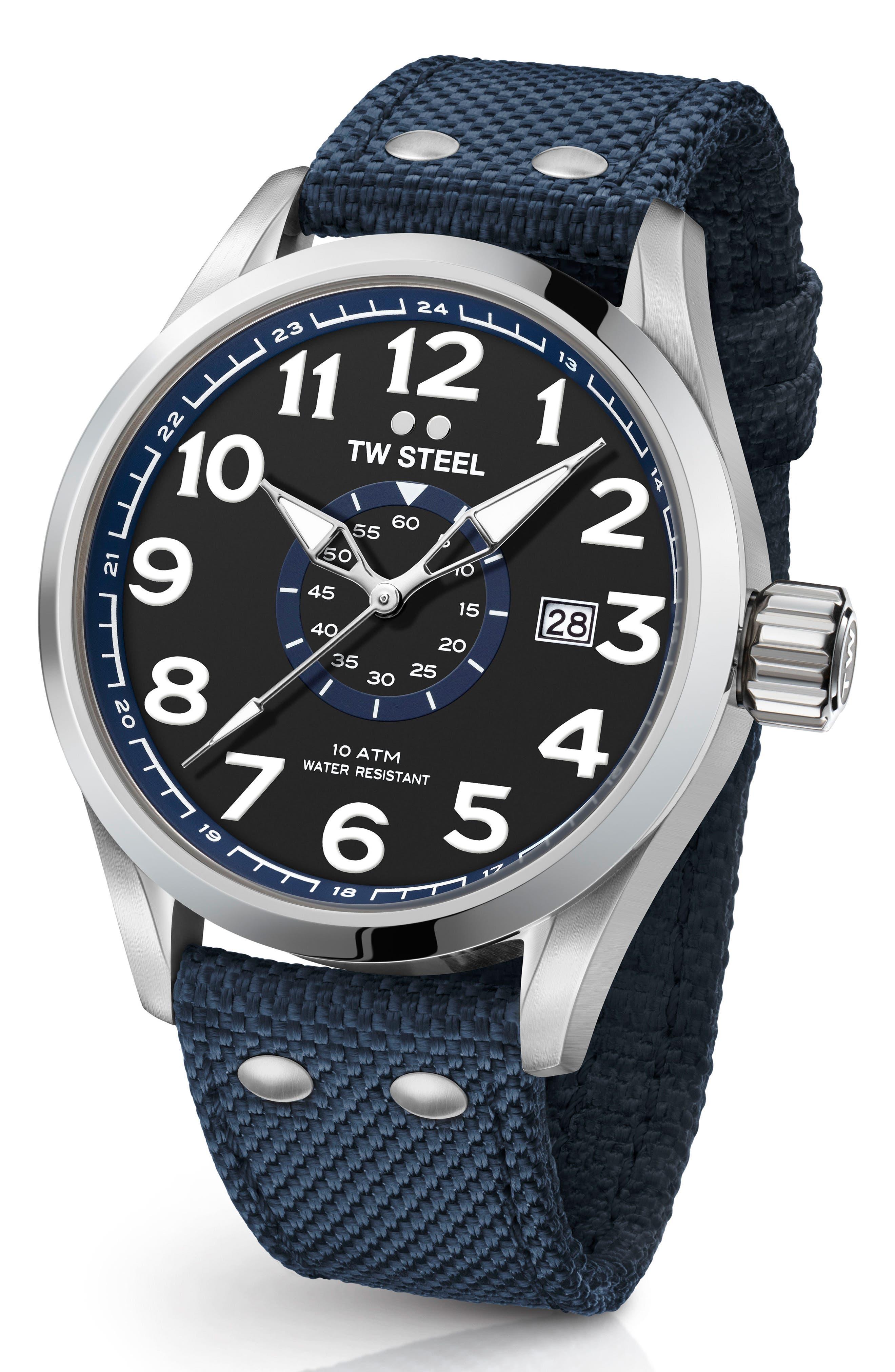 Volante Textile Strap Watch, 45mm,                             Main thumbnail 1, color,                             BLUE/ BLACK/ SILVER