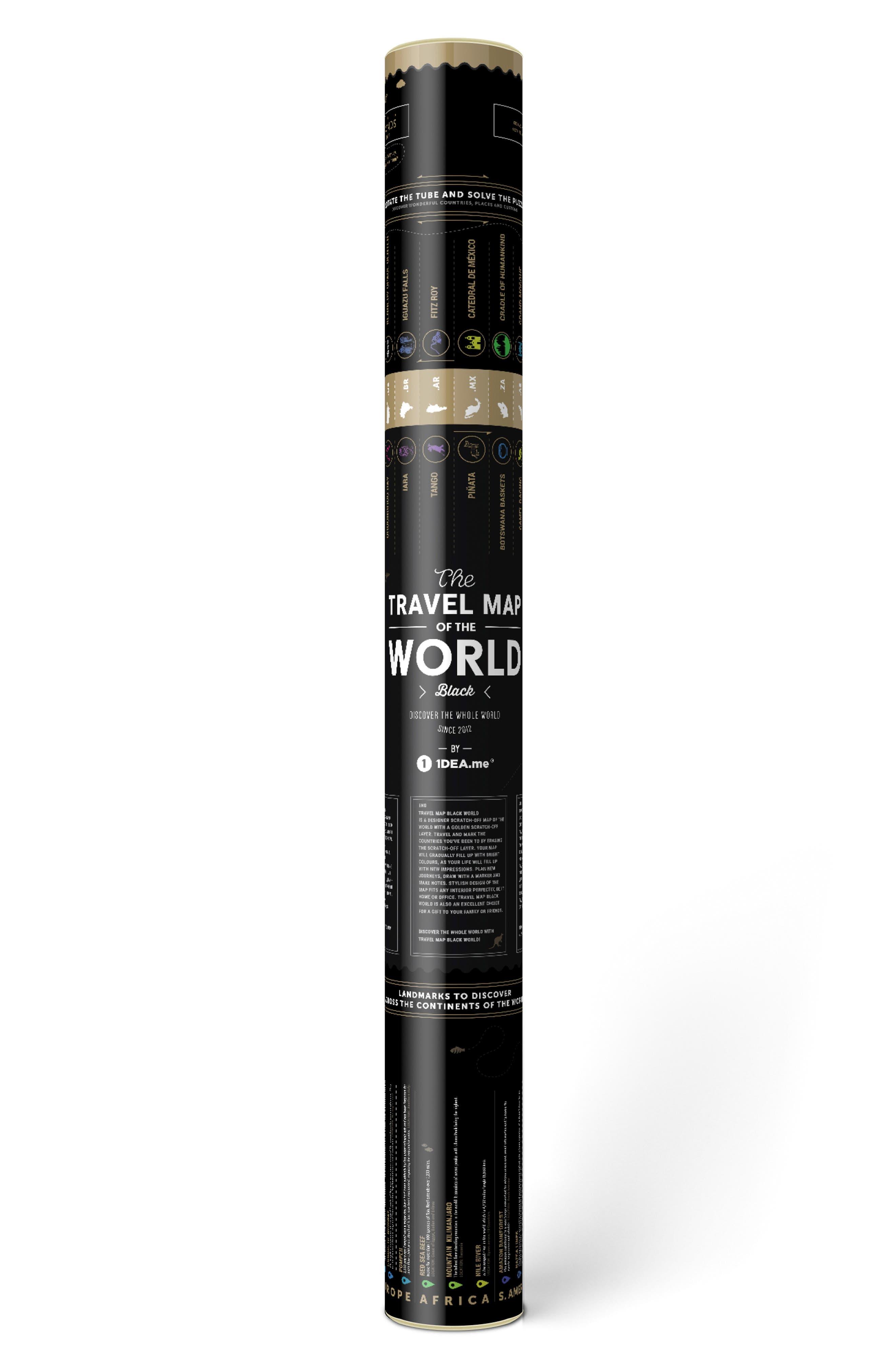 World Travel Map,                             Alternate thumbnail 2, color,                             BLACK