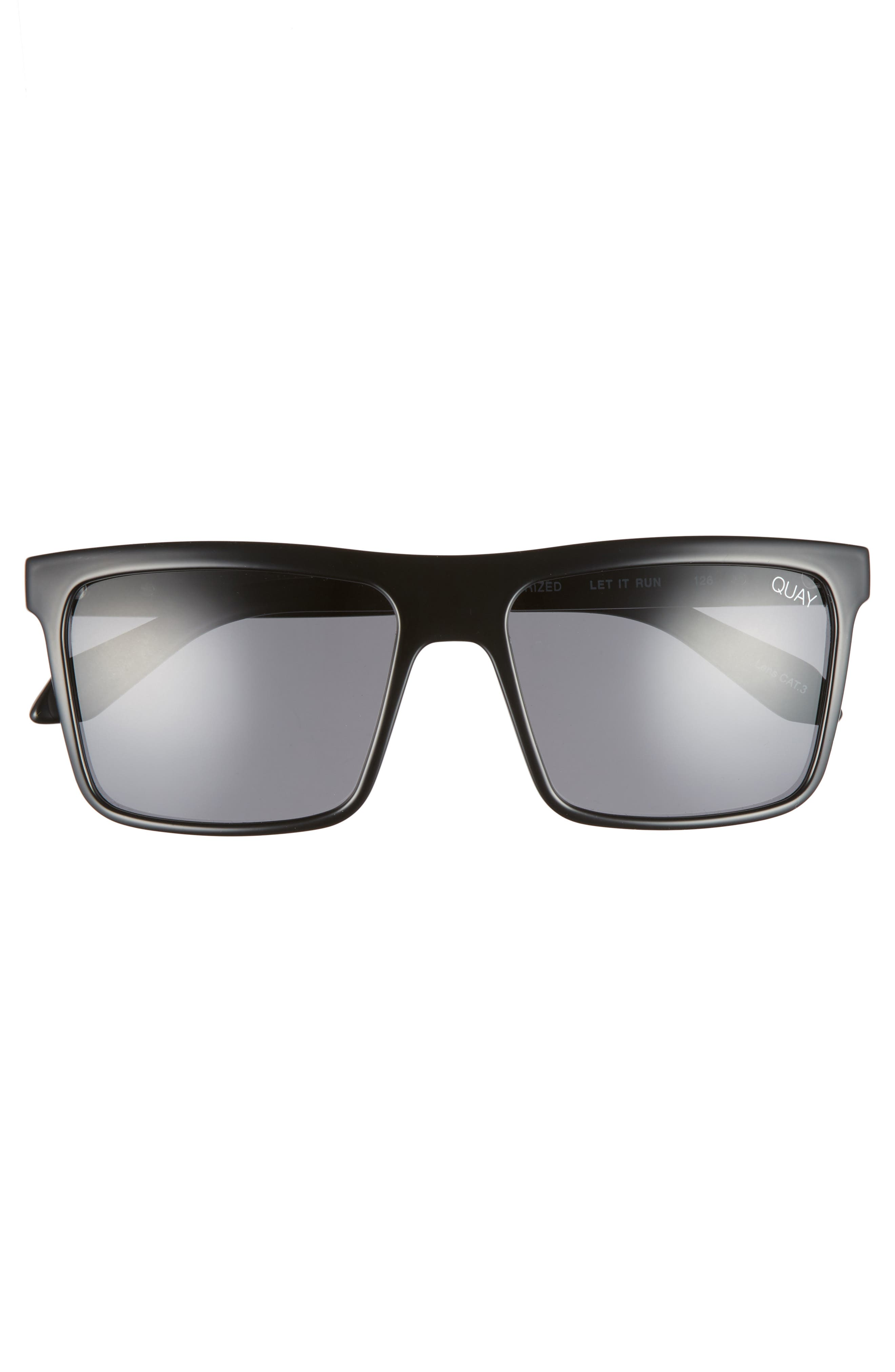 Let It Run 57mm Polarized Sunglasses,                             Alternate thumbnail 2, color,                             BLACK / SMOKE LENS
