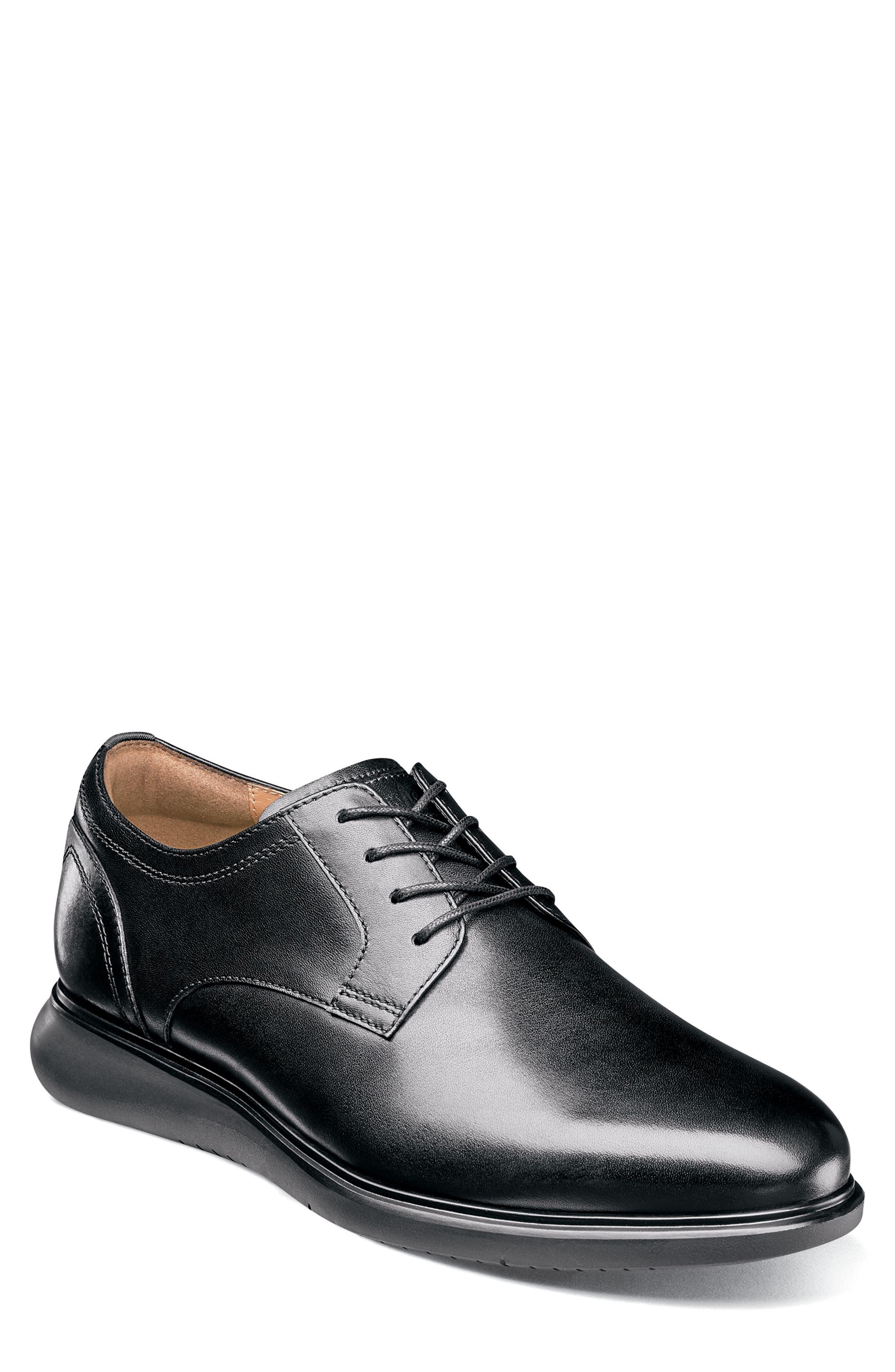 Fuel Plain Toe Derby,                         Main,                         color, BLACK LEATHER