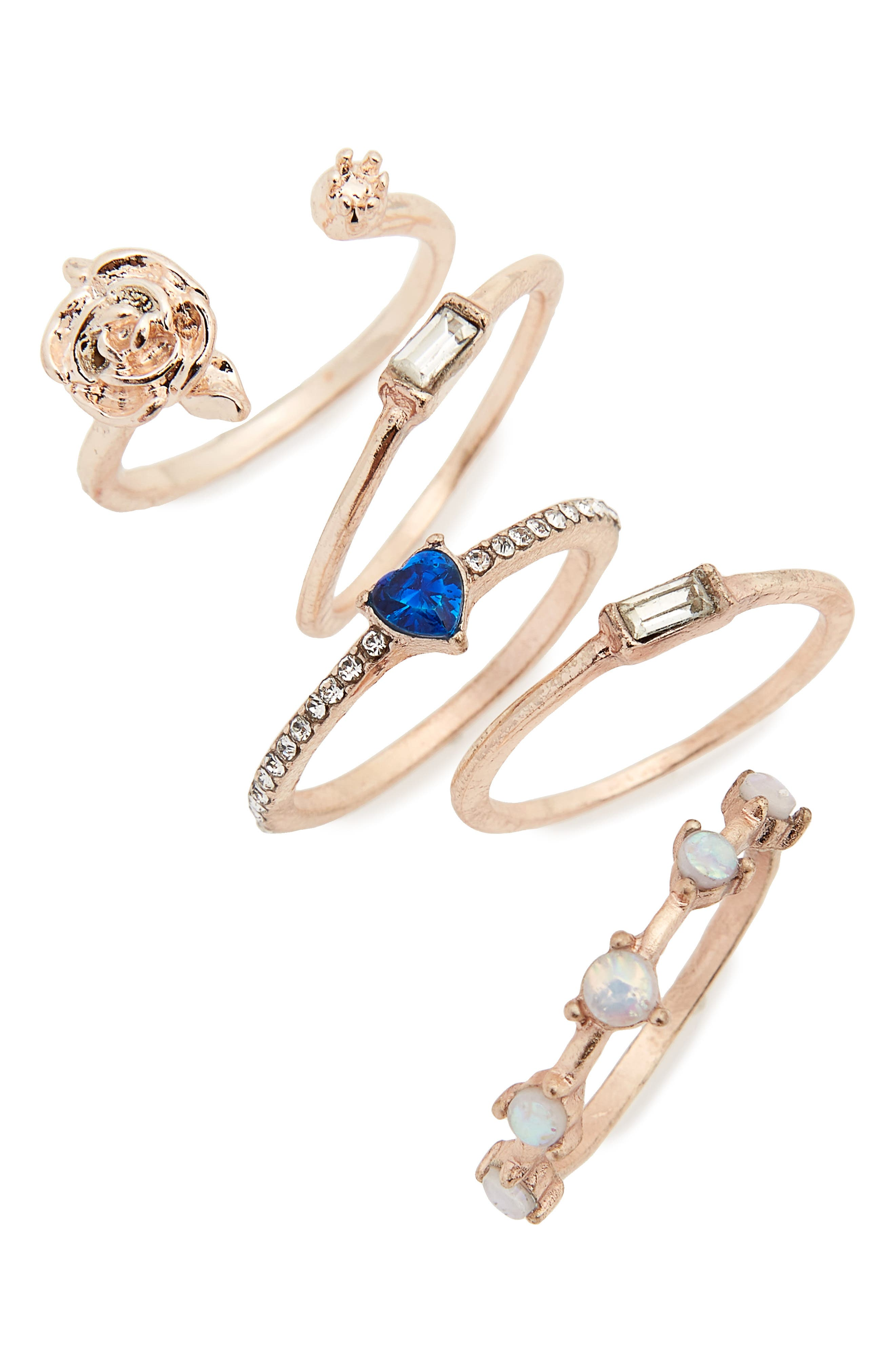 5-Pack Rose & Stone Rings,                             Main thumbnail 1, color,