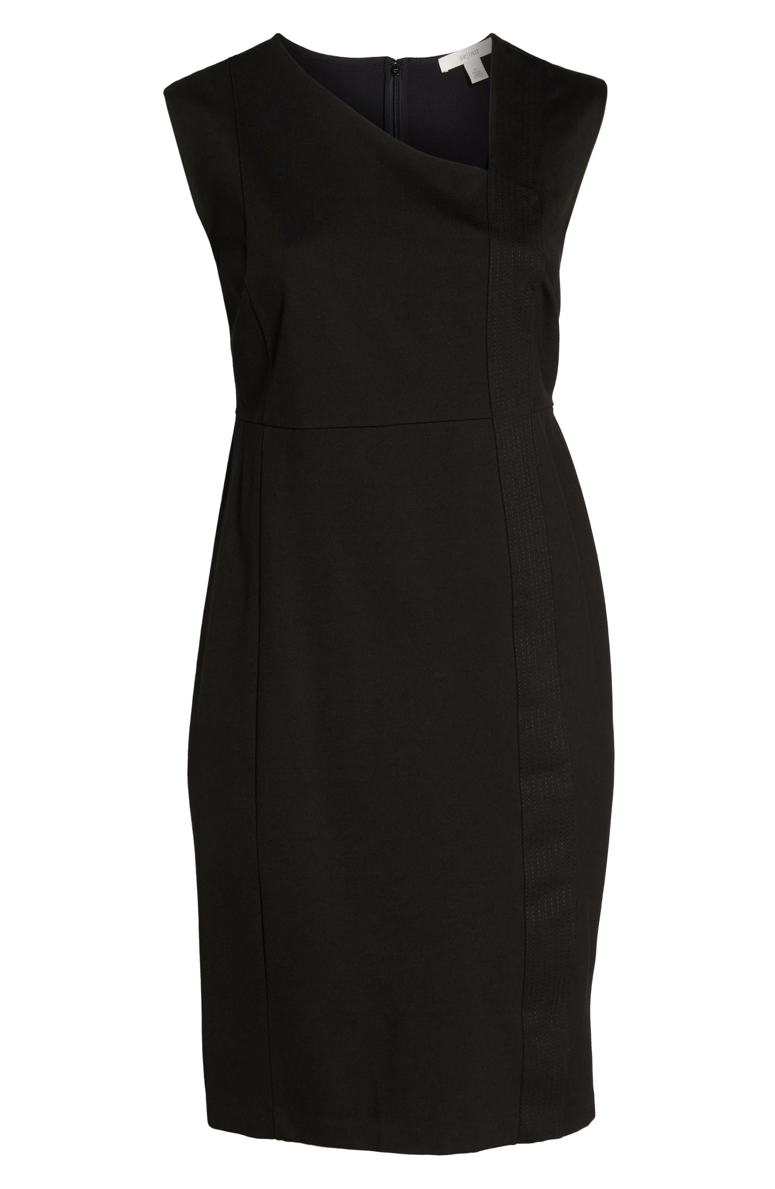 Asymmetrical Neck Sheath Dress,                             Alternate thumbnail 7, color,                             001