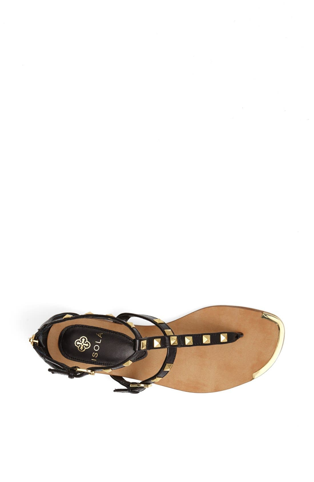 'Adie' Studded Leather Thong Sandal,                             Alternate thumbnail 4, color,                             001