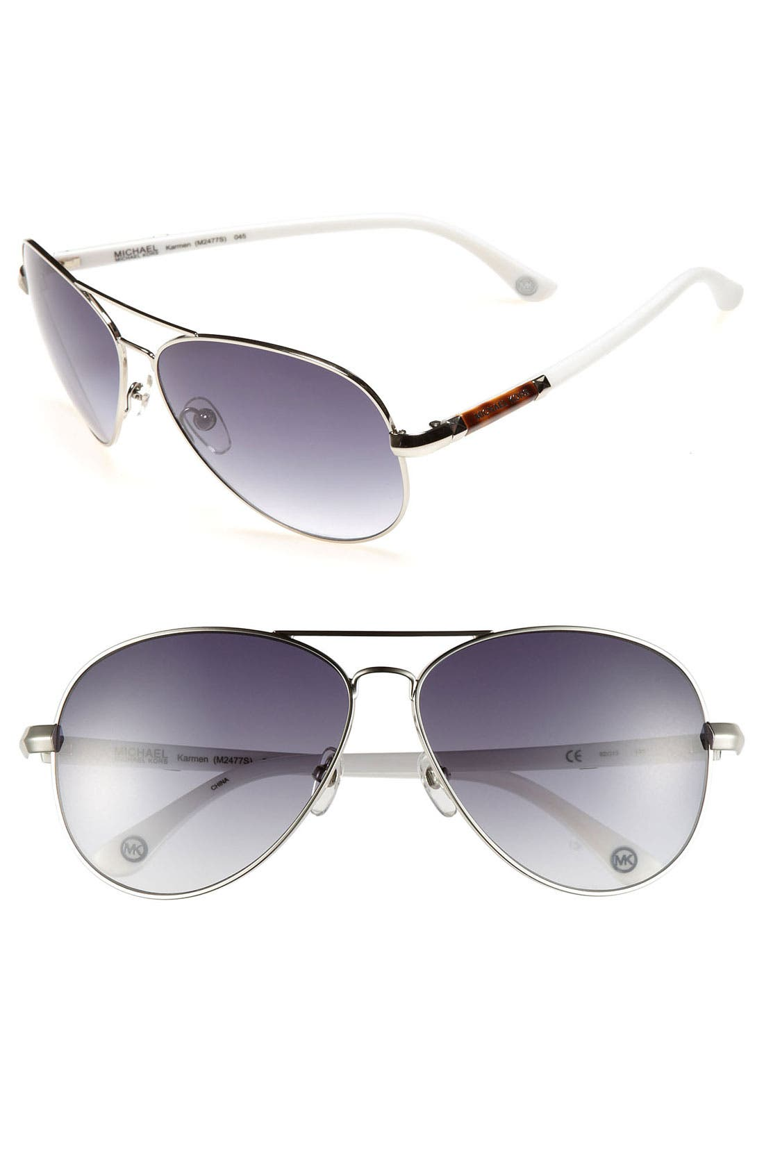 62mm Metal Aviator Sunglasses,                             Main thumbnail 2, color,