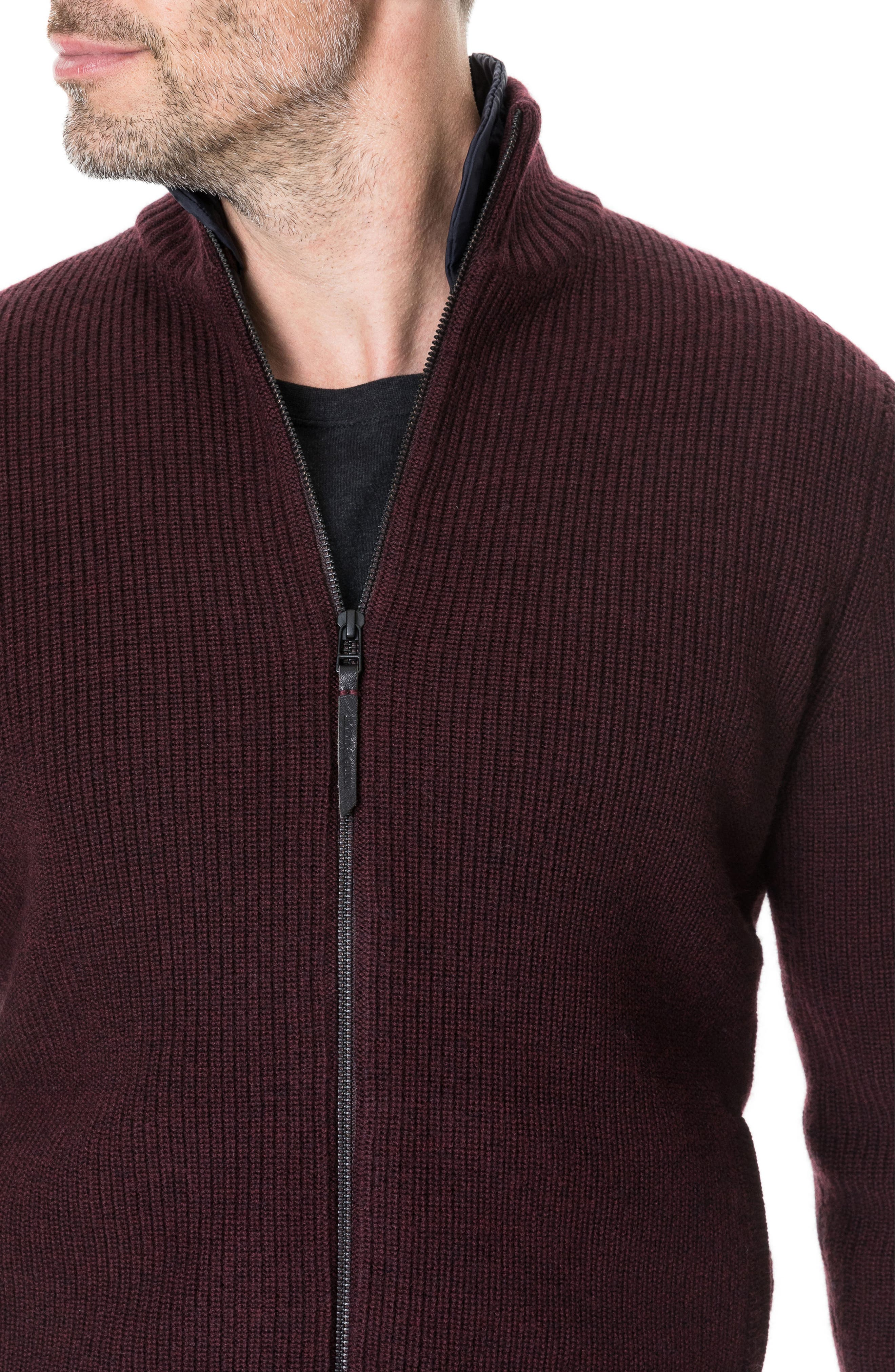 Camerons Track Zip Wool Sweater,                             Alternate thumbnail 4, color,                             BURGUNDY