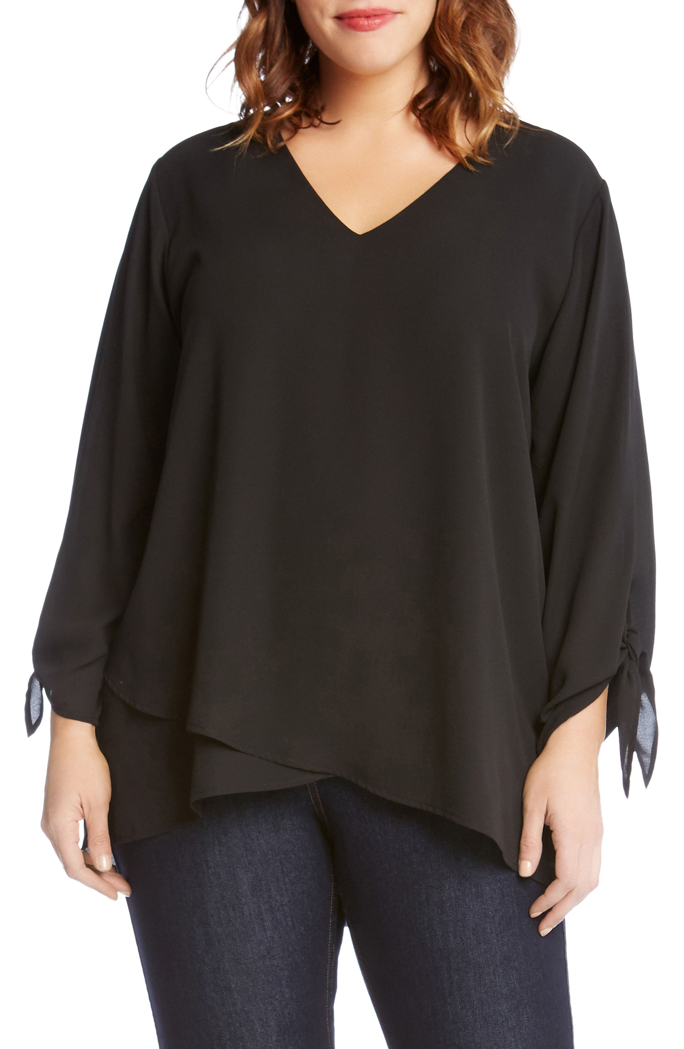 Crossover Tie Sleeve Top,                             Main thumbnail 1, color,                             001