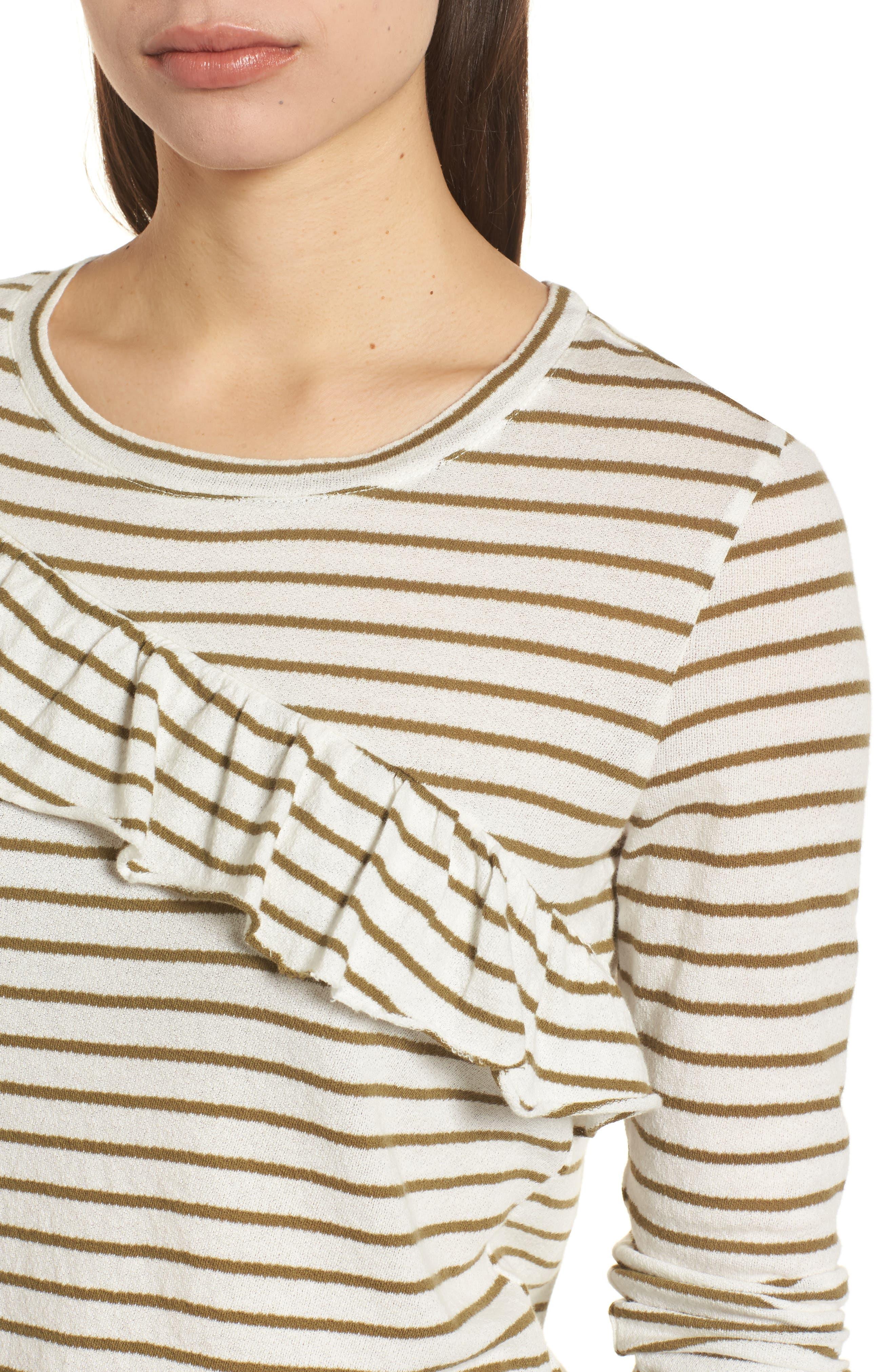 Stripe Asymmetrical Ruffle Top,                             Alternate thumbnail 4, color,                             310