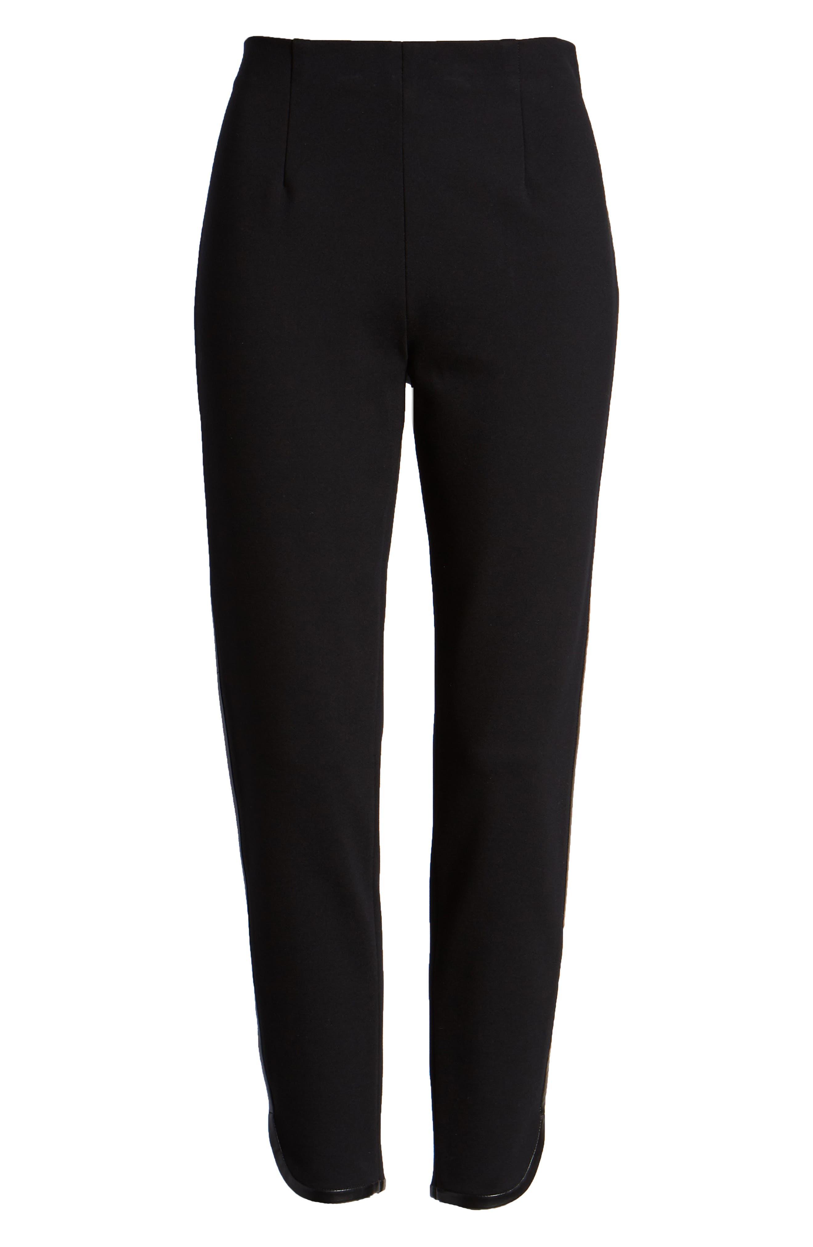 Ponte Knit Crop Pants,                             Alternate thumbnail 7, color,                             BLACK