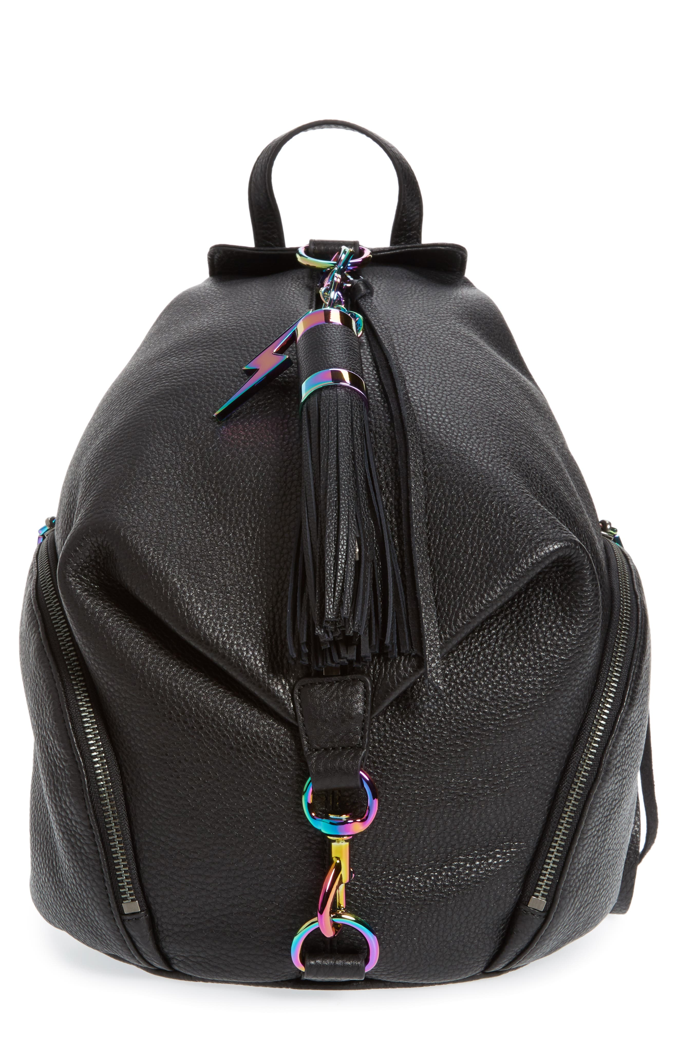 Julian Always On Charging Leather Backpack,                         Main,                         color, 001