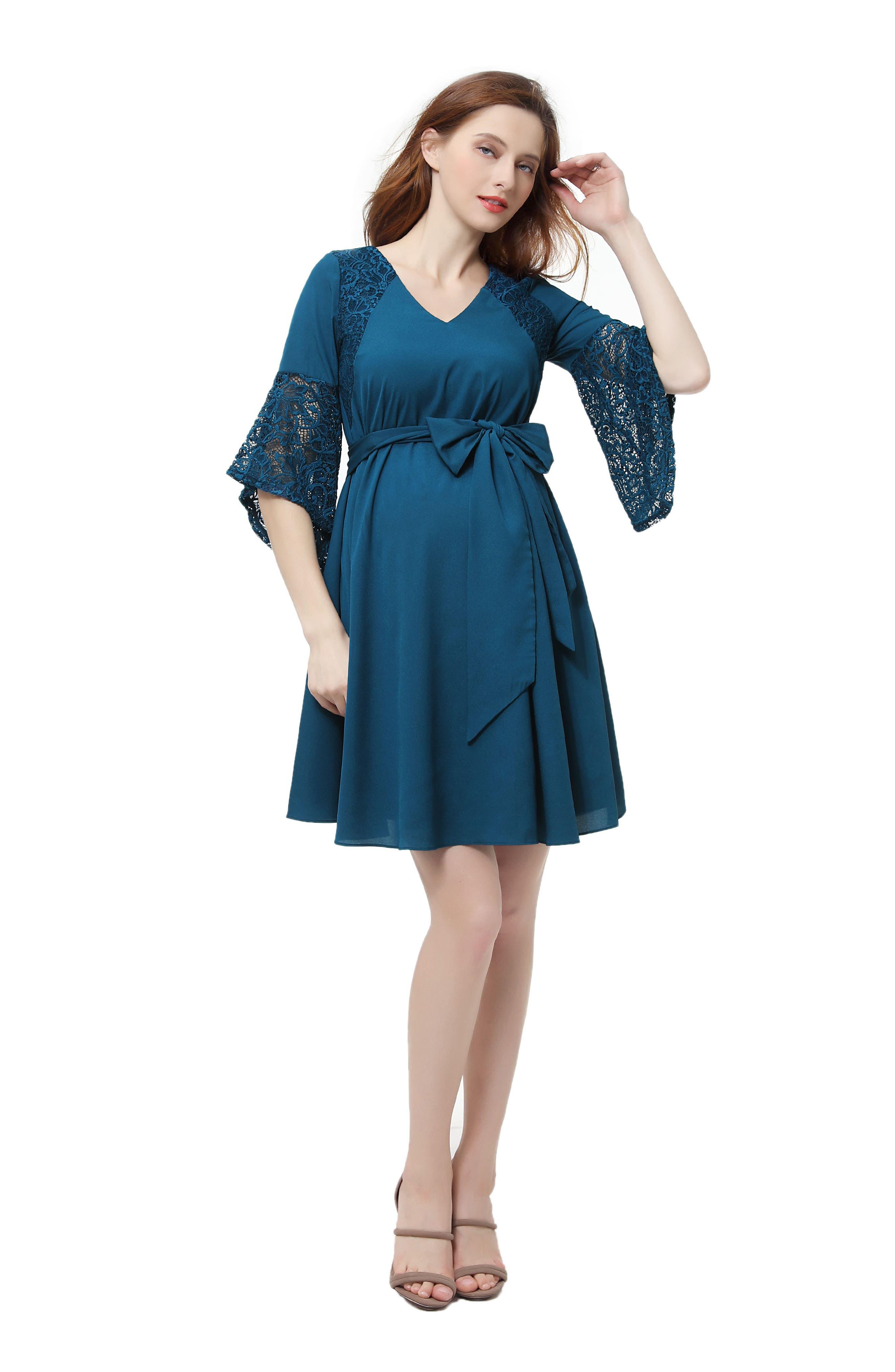 KIMI AND KAI,                             Abbey Lace Trim Maternity Dress,                             Alternate thumbnail 4, color,                             DEEP SEA