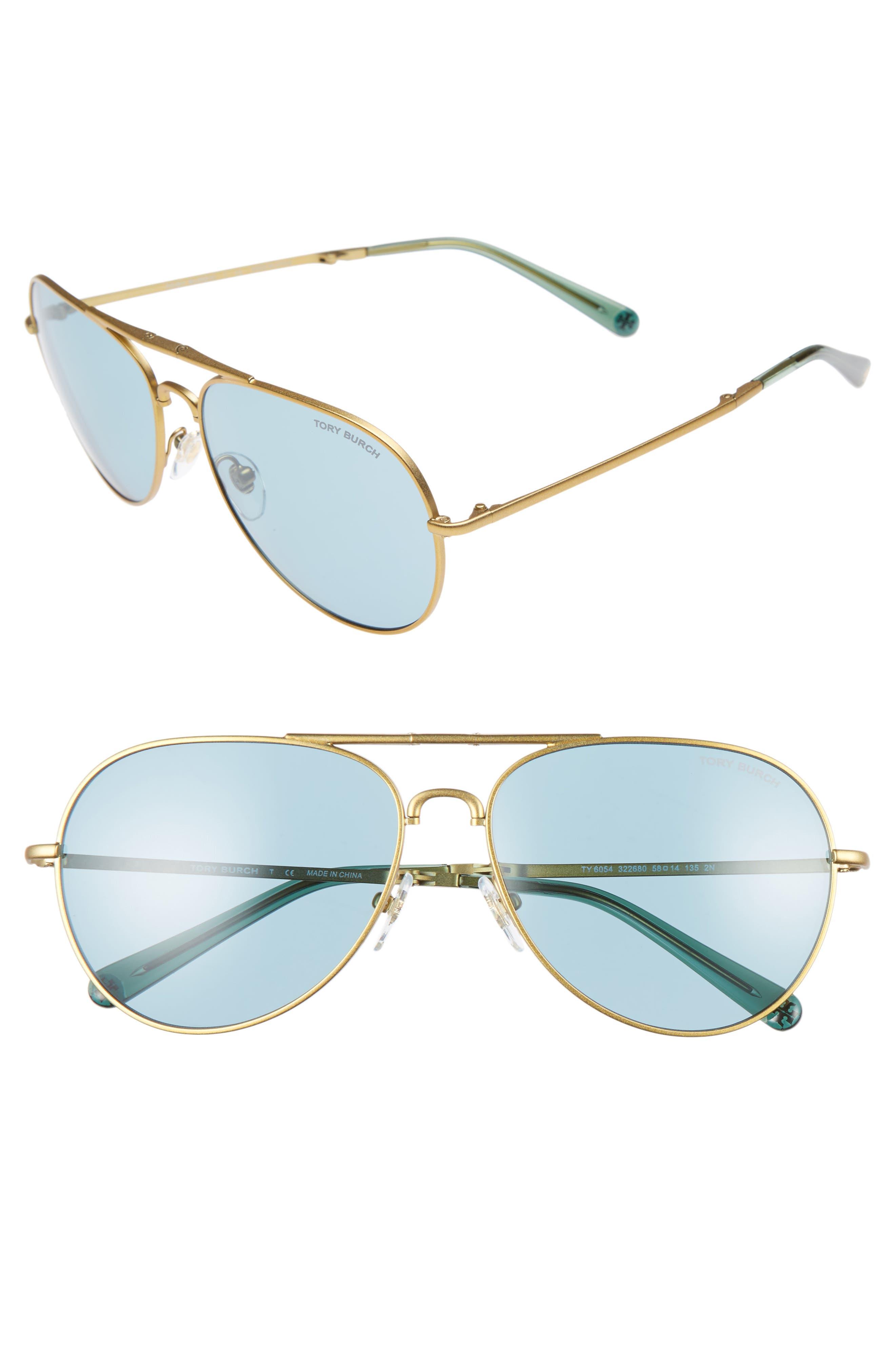 58mm Foldable Aviator Sunglasses,                             Main thumbnail 1, color,                             710