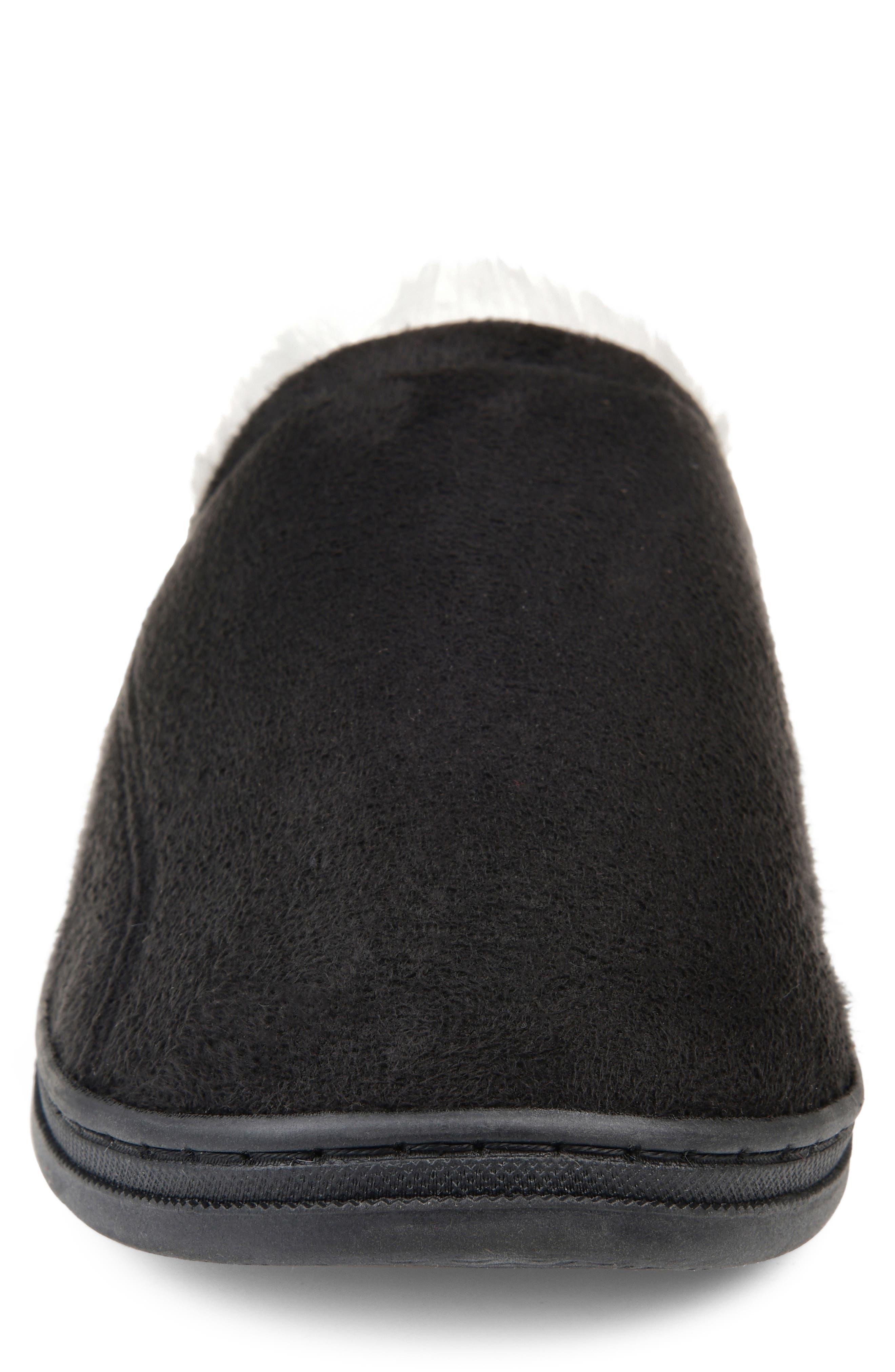 Rodney Faux Fur Slipper,                             Alternate thumbnail 4, color,                             BLACK FAUX SUEDE