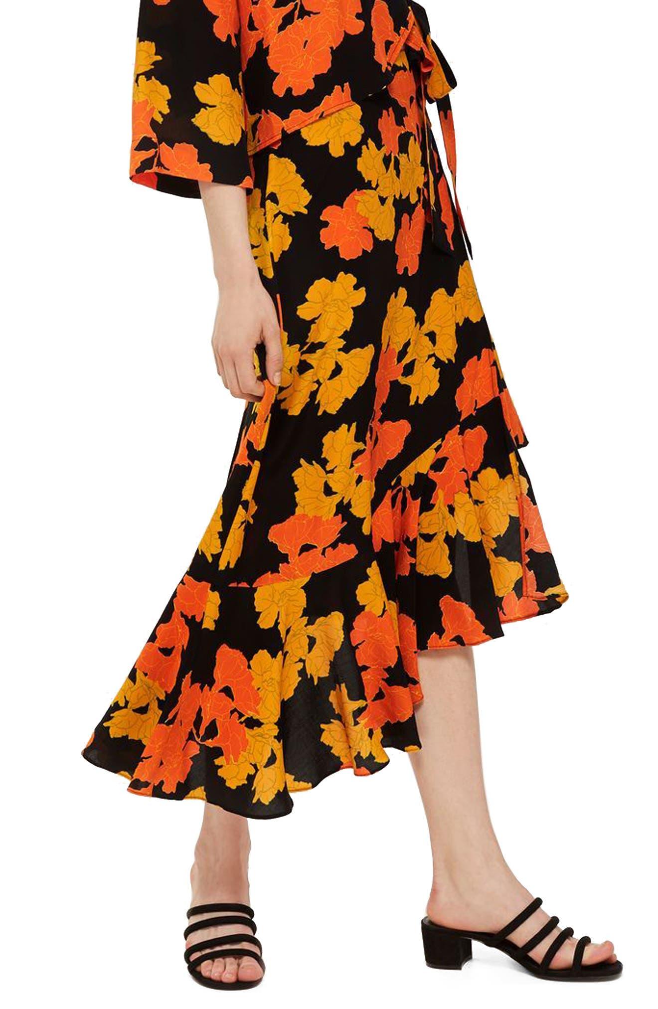 TOPSHOP,                             Printed Midi Skirt,                             Main thumbnail 1, color,                             001