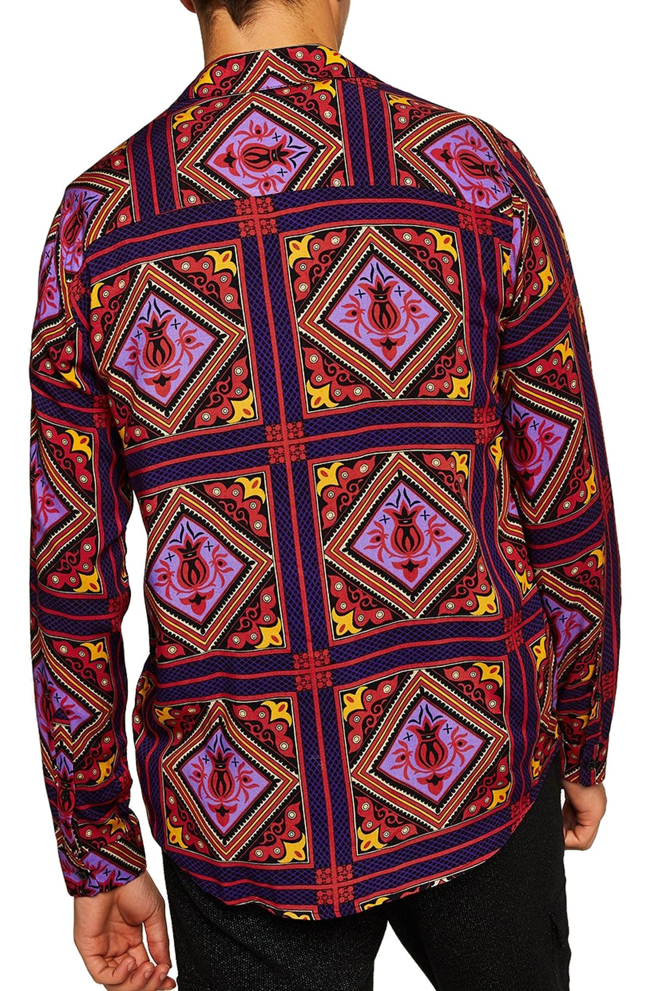Tile Classic Fit Shirt,                             Alternate thumbnail 3, color,                             PURPLE MULTI