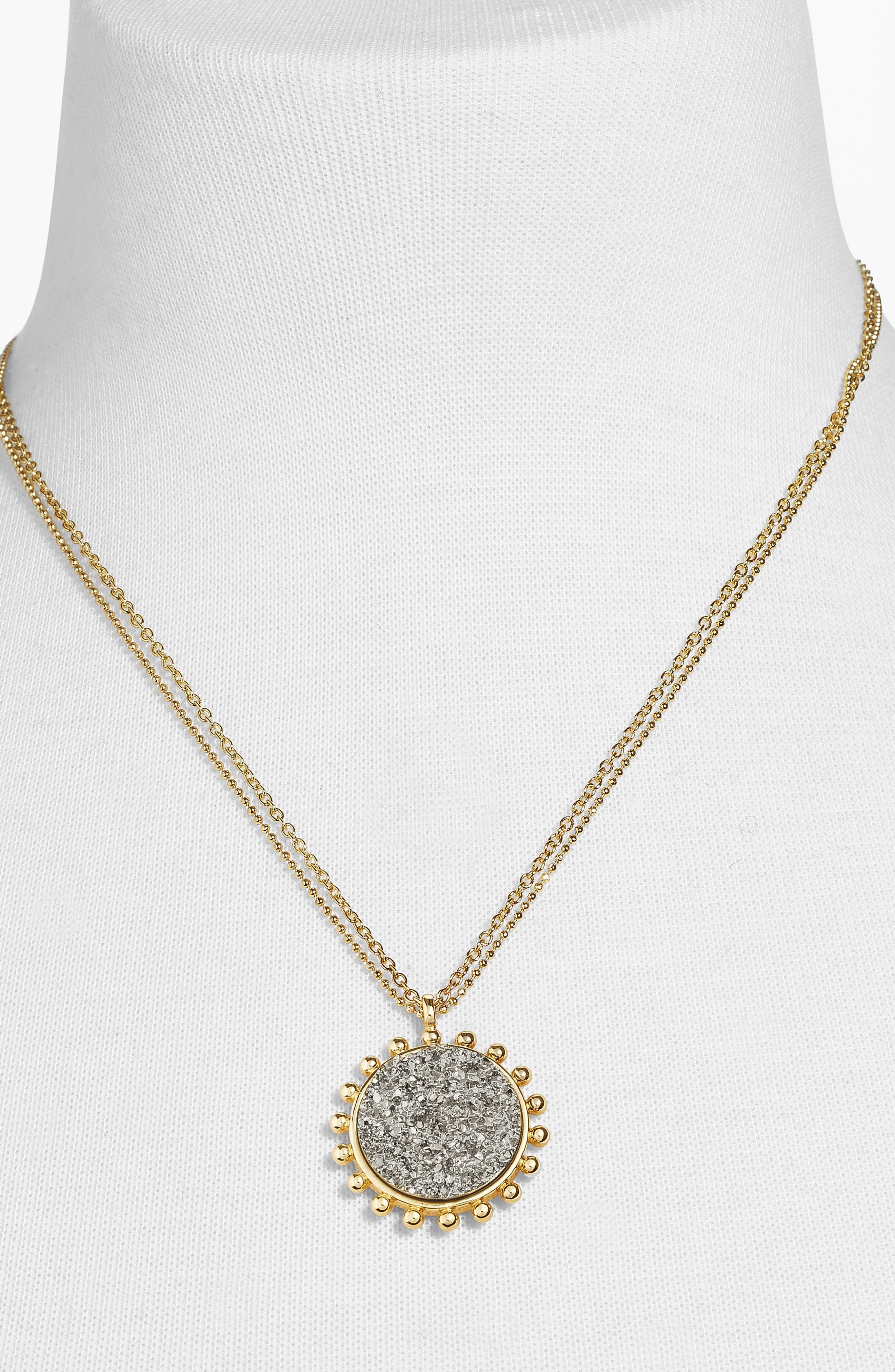 Kerison Drusy Pendant Necklace,                             Alternate thumbnail 2, color,                             METALLIC GREY