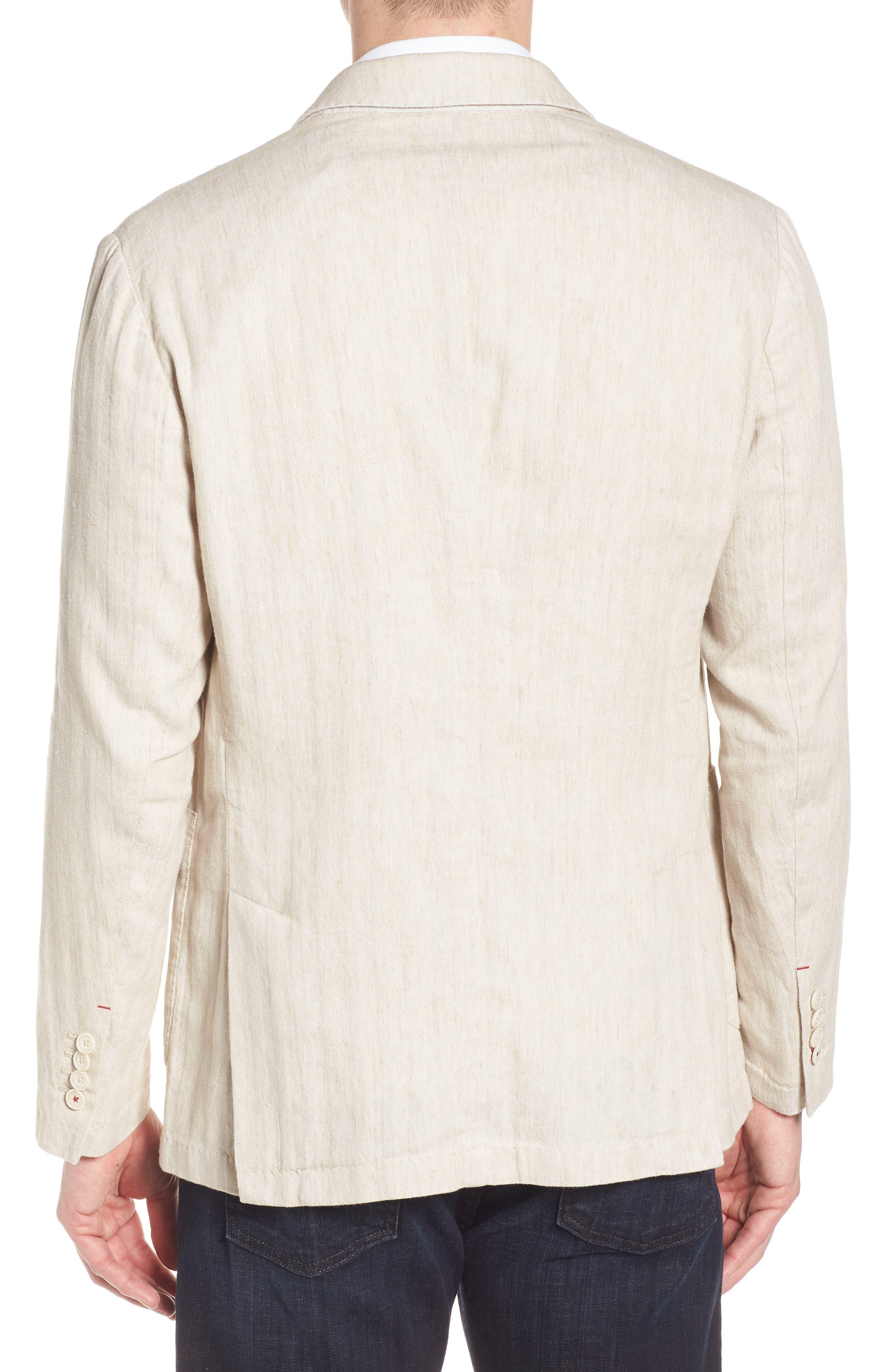Regular Fit Herringbone Cotton & Linen Blazer,                             Alternate thumbnail 2, color,                             200