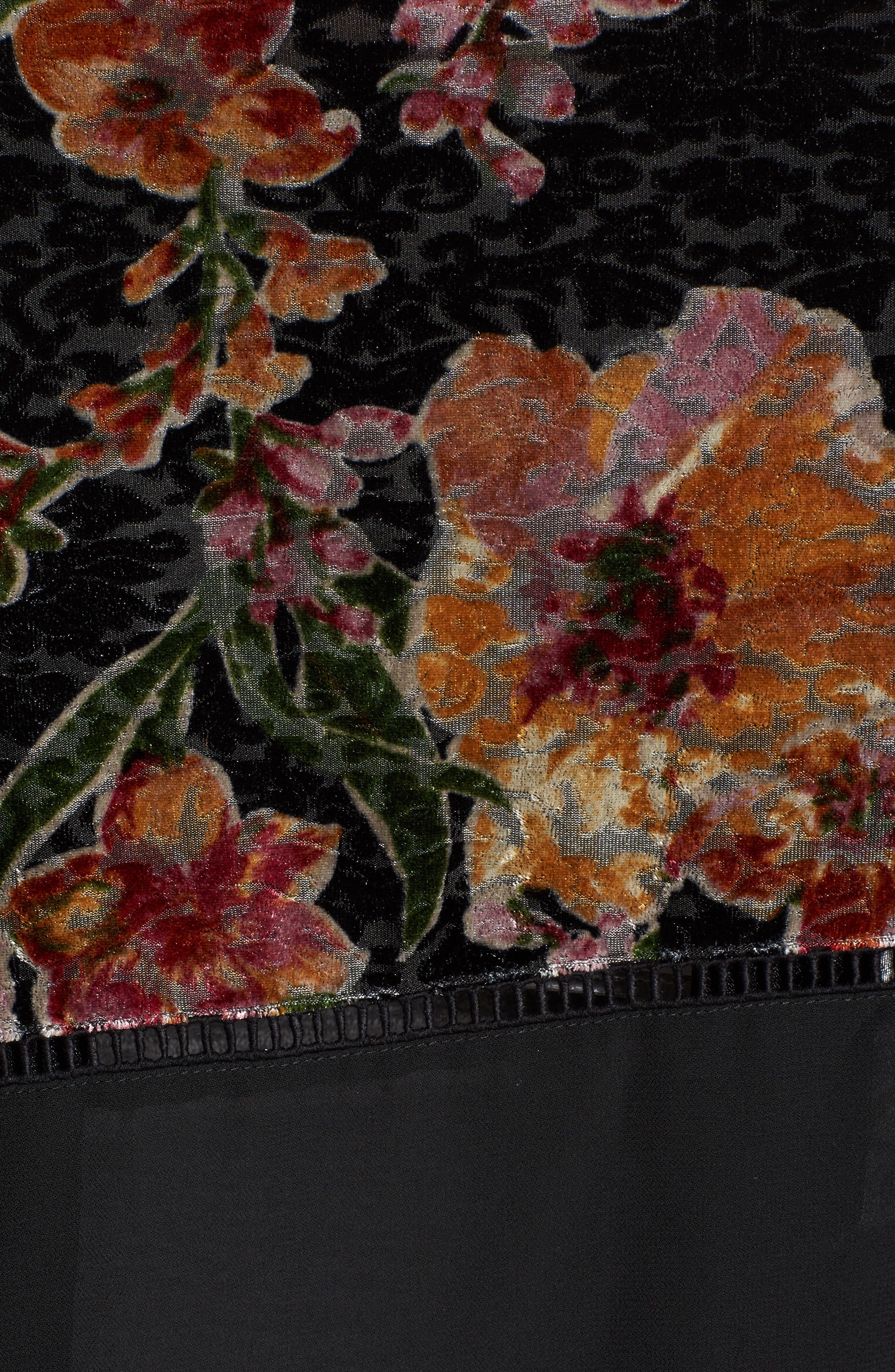 Burnout Floral Kimono,                             Alternate thumbnail 5, color,                             001