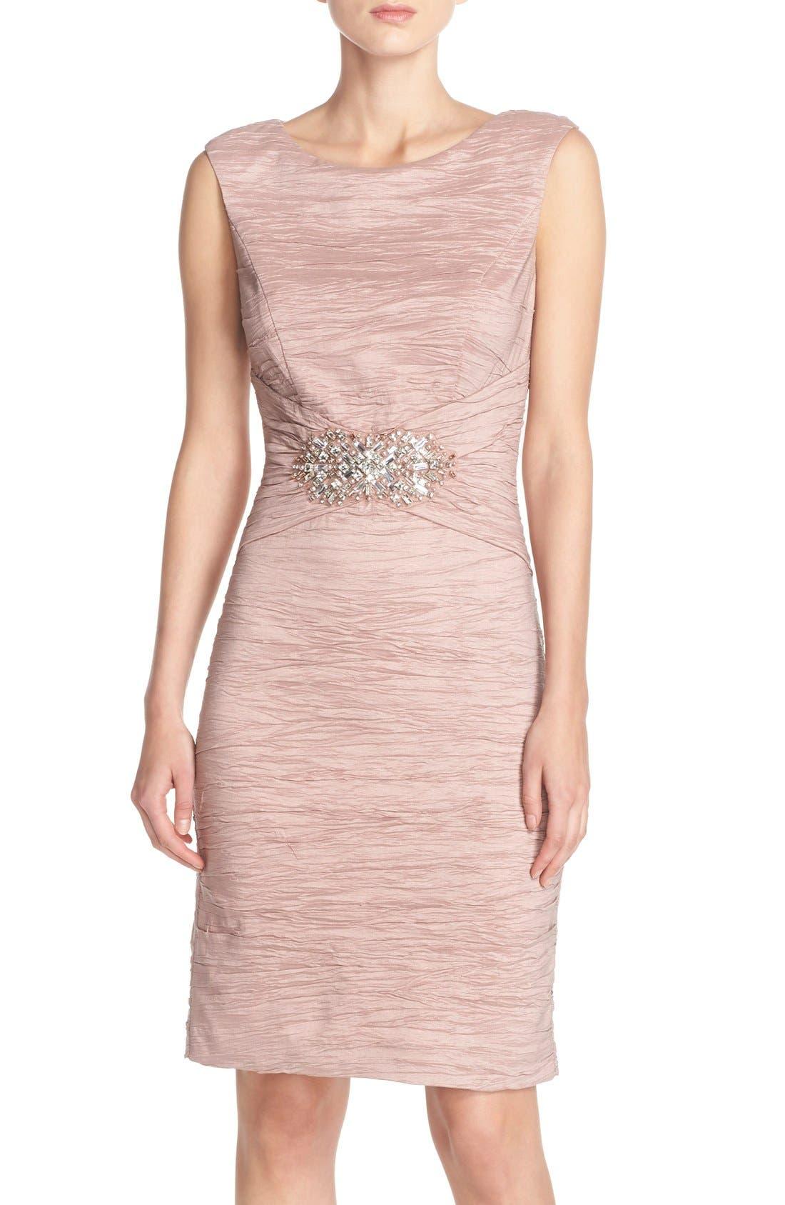 Embellished Taffeta Sheath Dress,                             Main thumbnail 3, color,