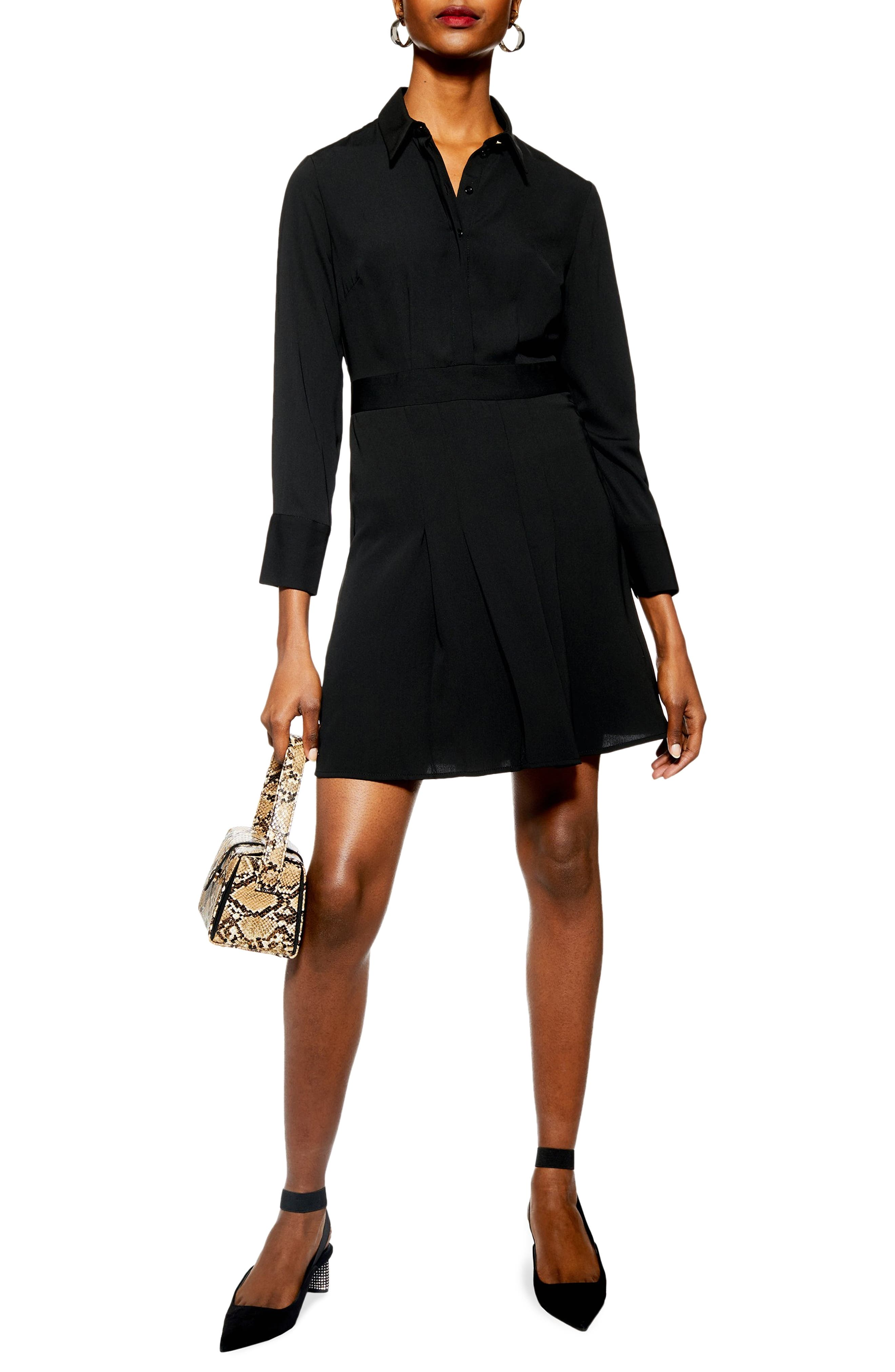 TOPSHOP Pleated Mini Shirtdress, Main, color, BLACK