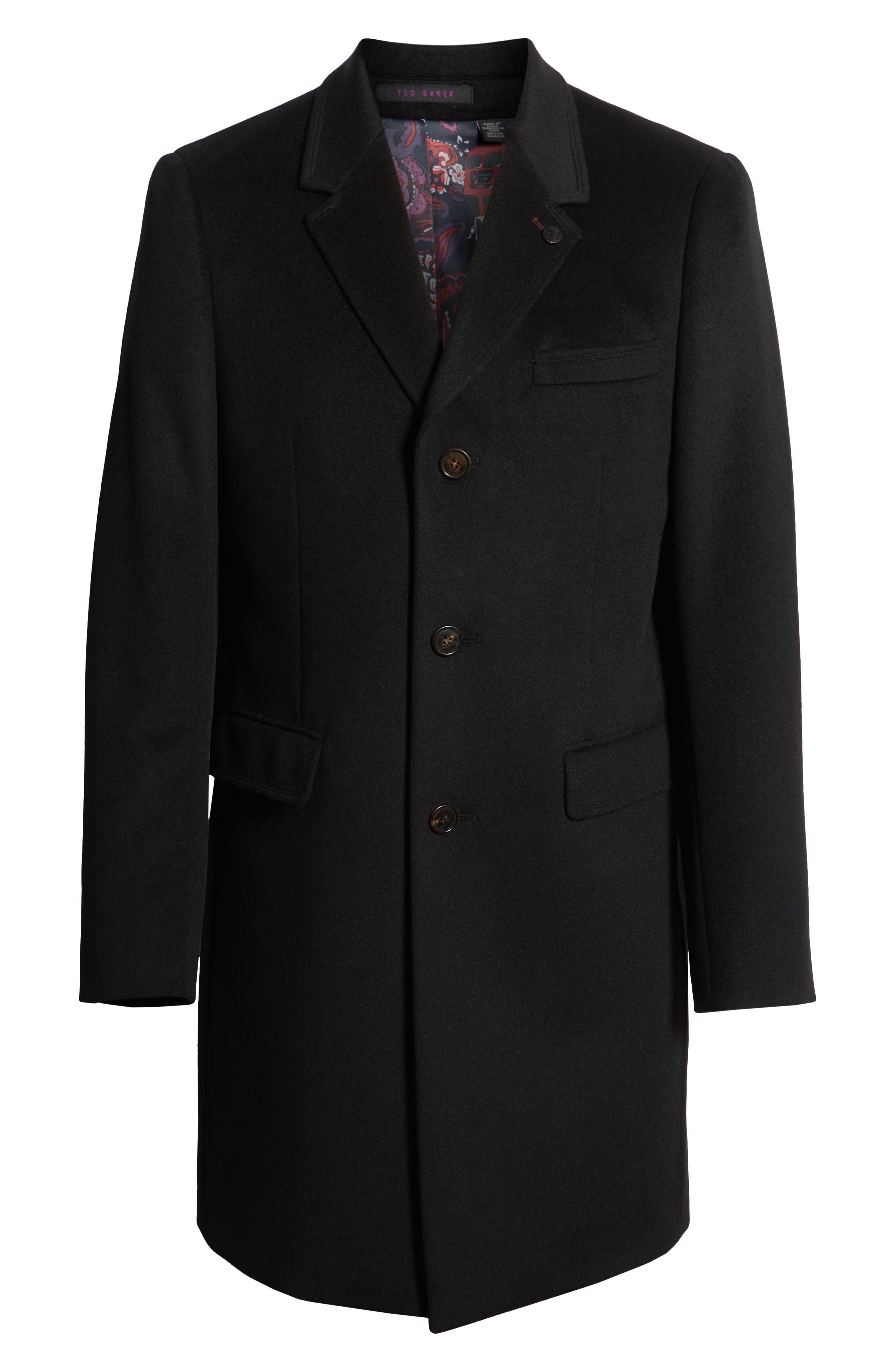 Swish Wool & Cashmere Overcoat,                             Alternate thumbnail 6, color,                             001
