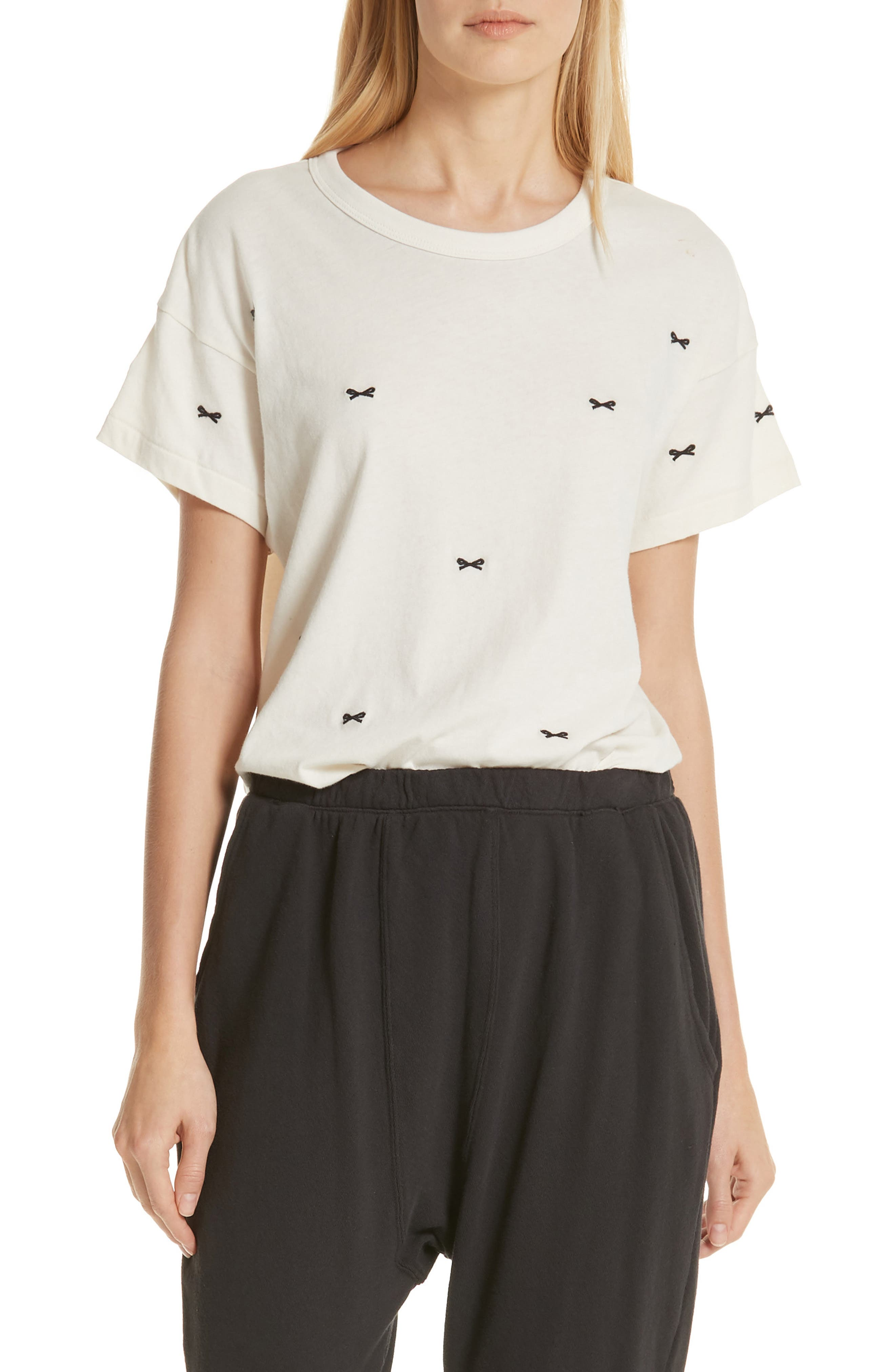 The Embroidered Boxy Crew Tee,                         Main,                         color, WASHED WHITE W/ BOW EMB