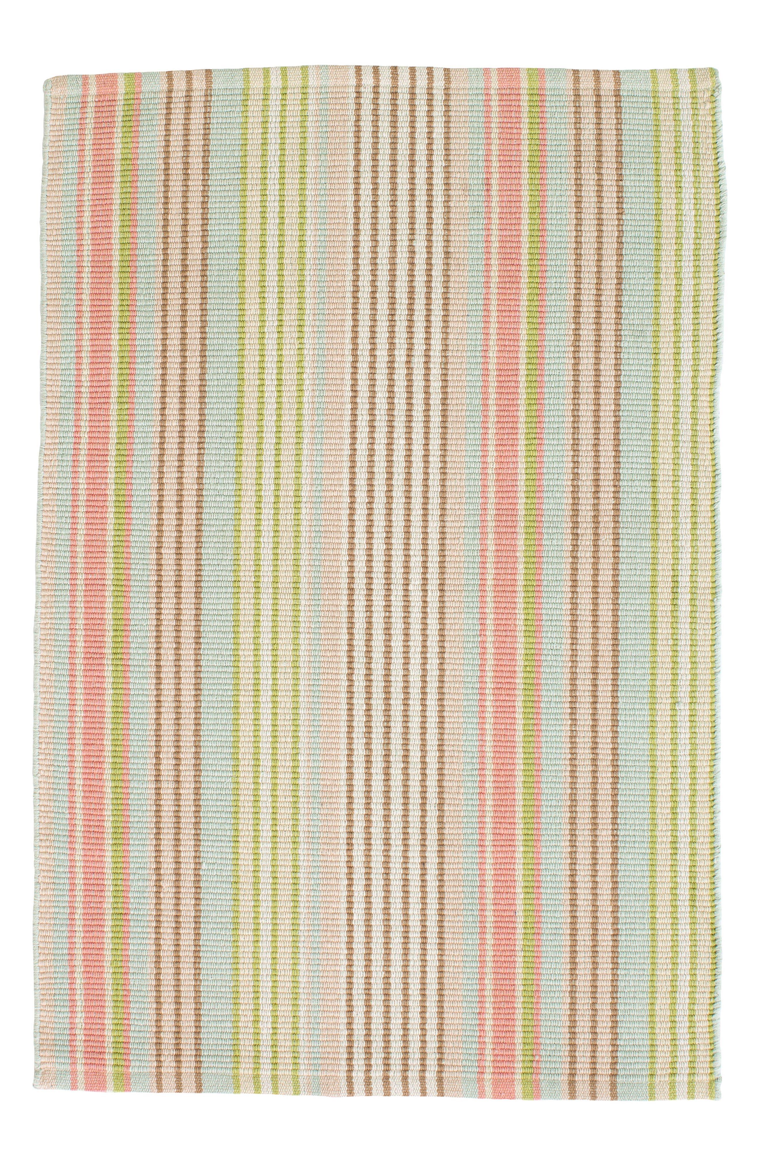 Ana Ticking Woven Rug,                         Main,                         color, AQUA